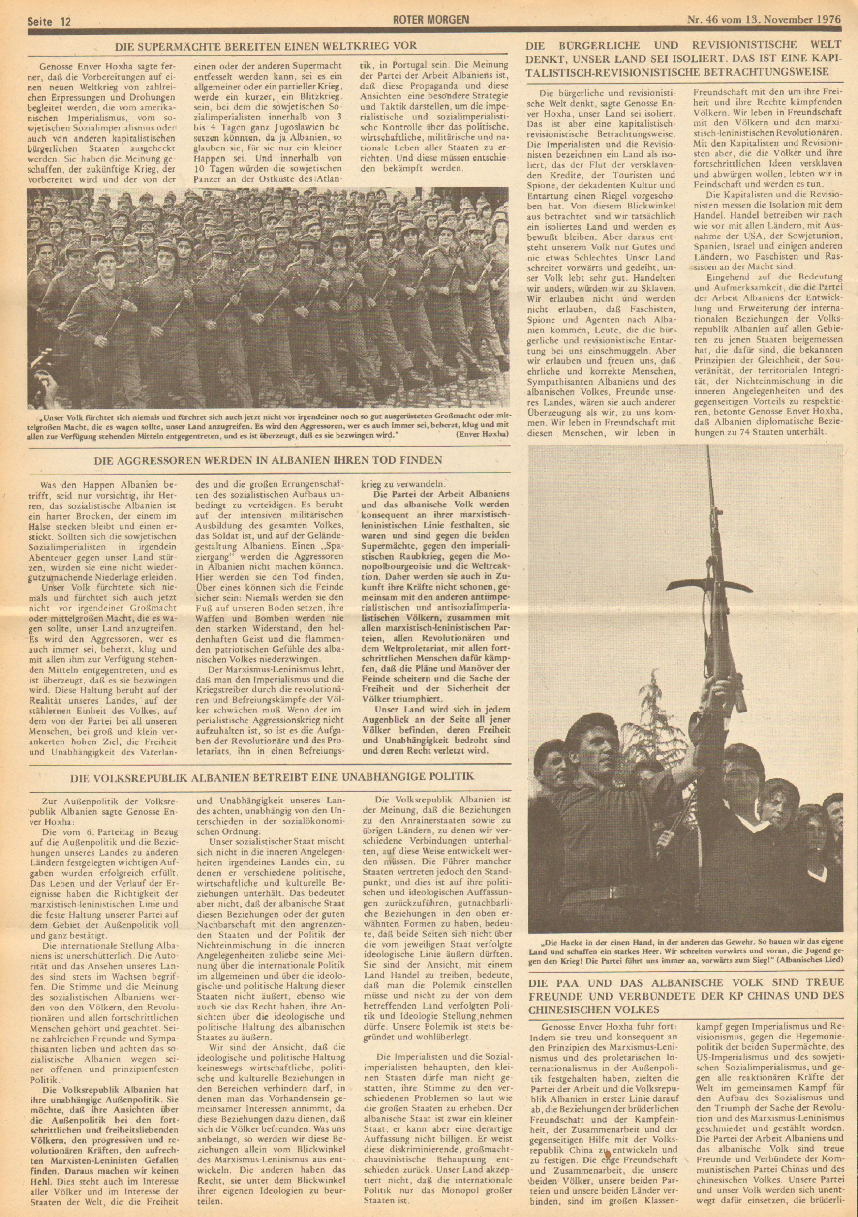 Roter Morgen, 10. Jg., 13. November 1976, Nr. 46, Seite 12