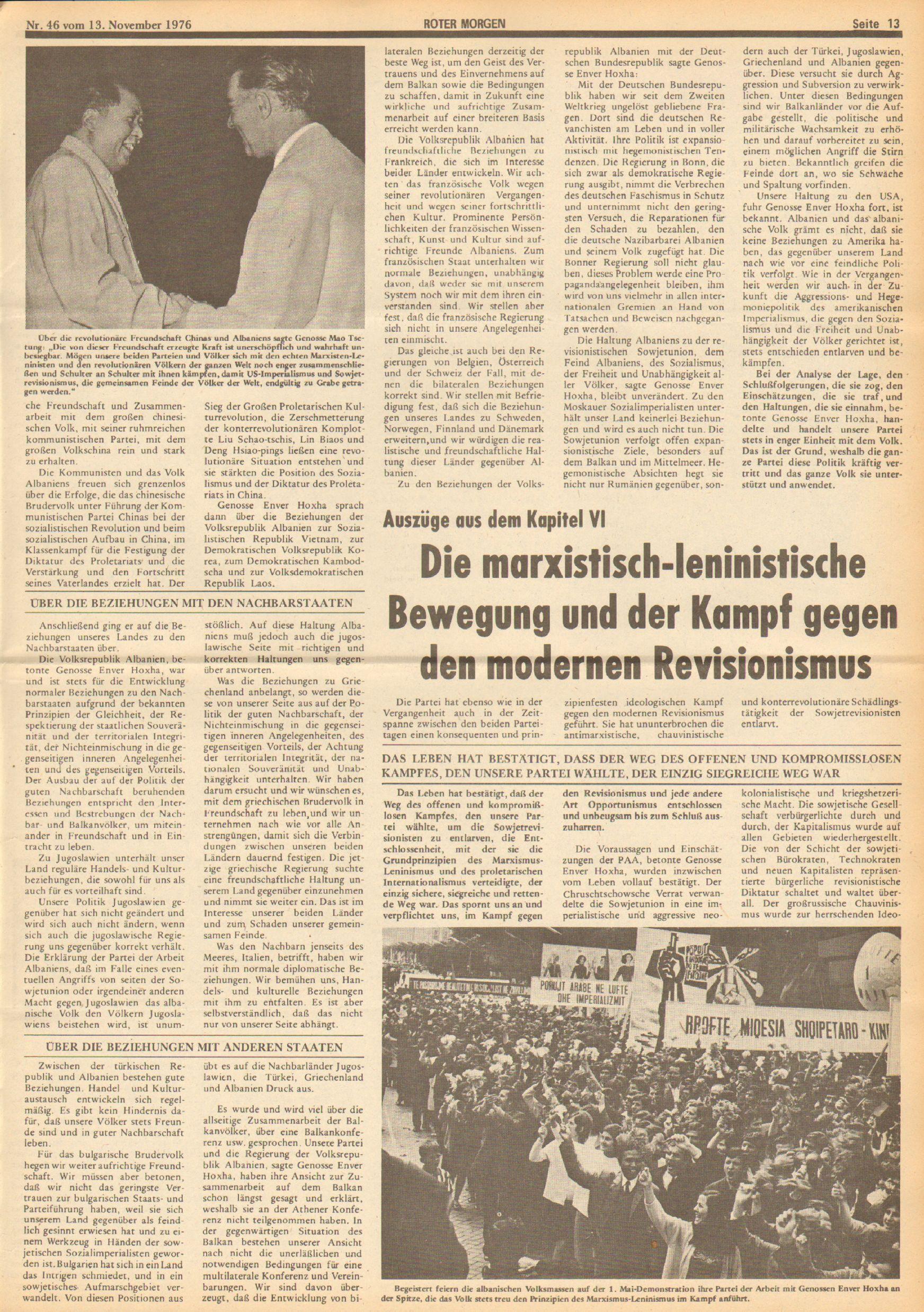 Roter Morgen, 10. Jg., 13. November 1976, Nr. 46, Seite 13