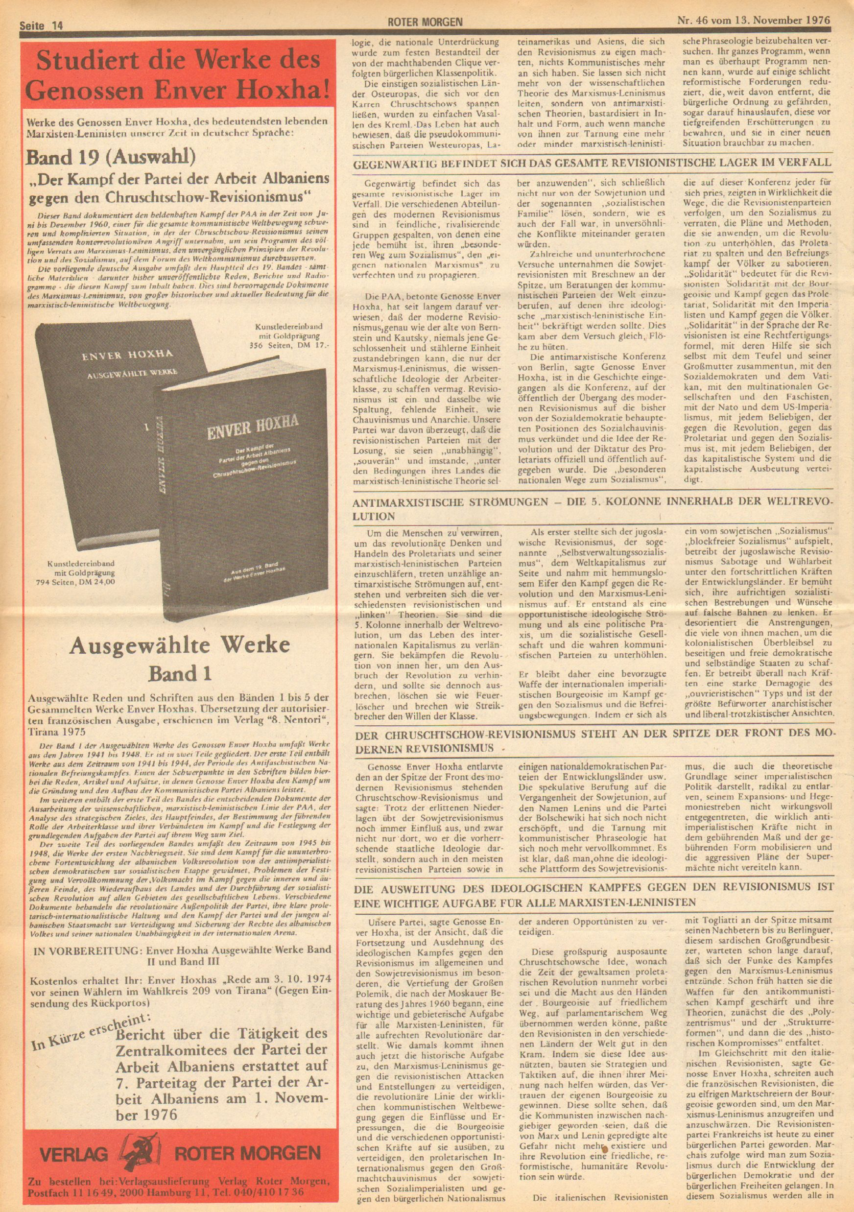 Roter Morgen, 10. Jg., 13. November 1976, Nr. 46, Seite 14