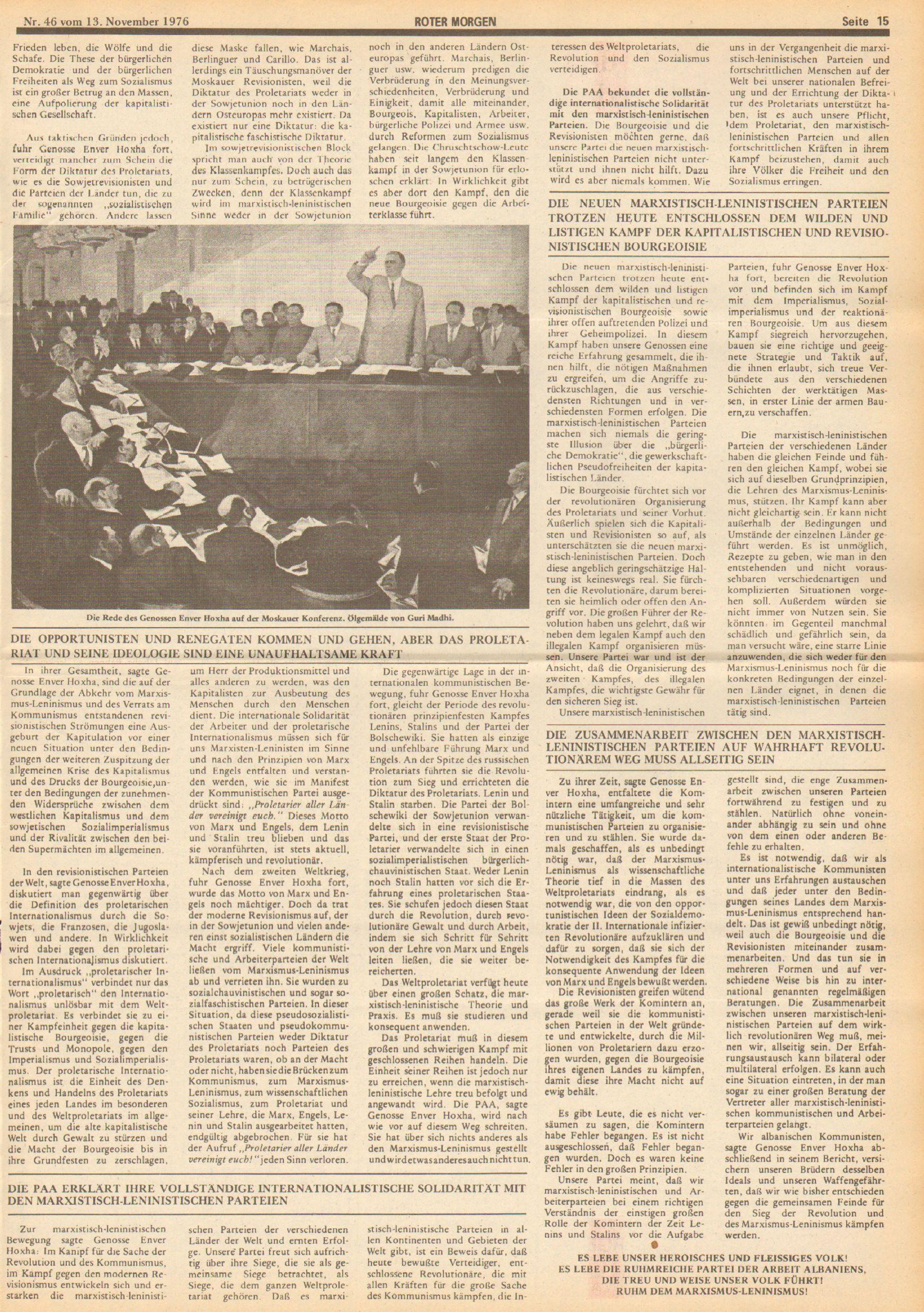 Roter Morgen, 10. Jg., 13. November 1976, Nr. 46, Seite 15