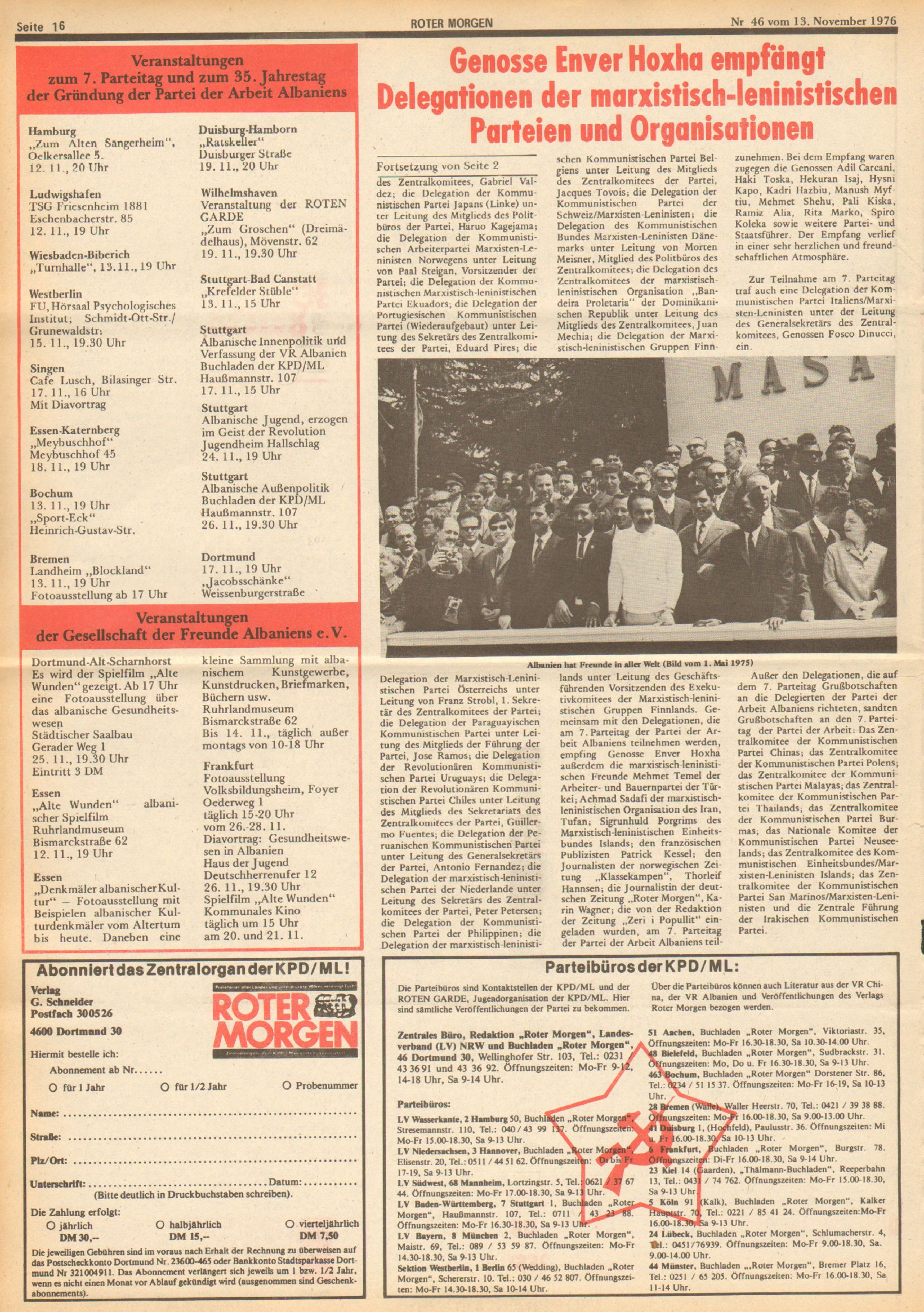 Roter Morgen, 10. Jg., 13. November 1976, Nr. 46, Seite 16