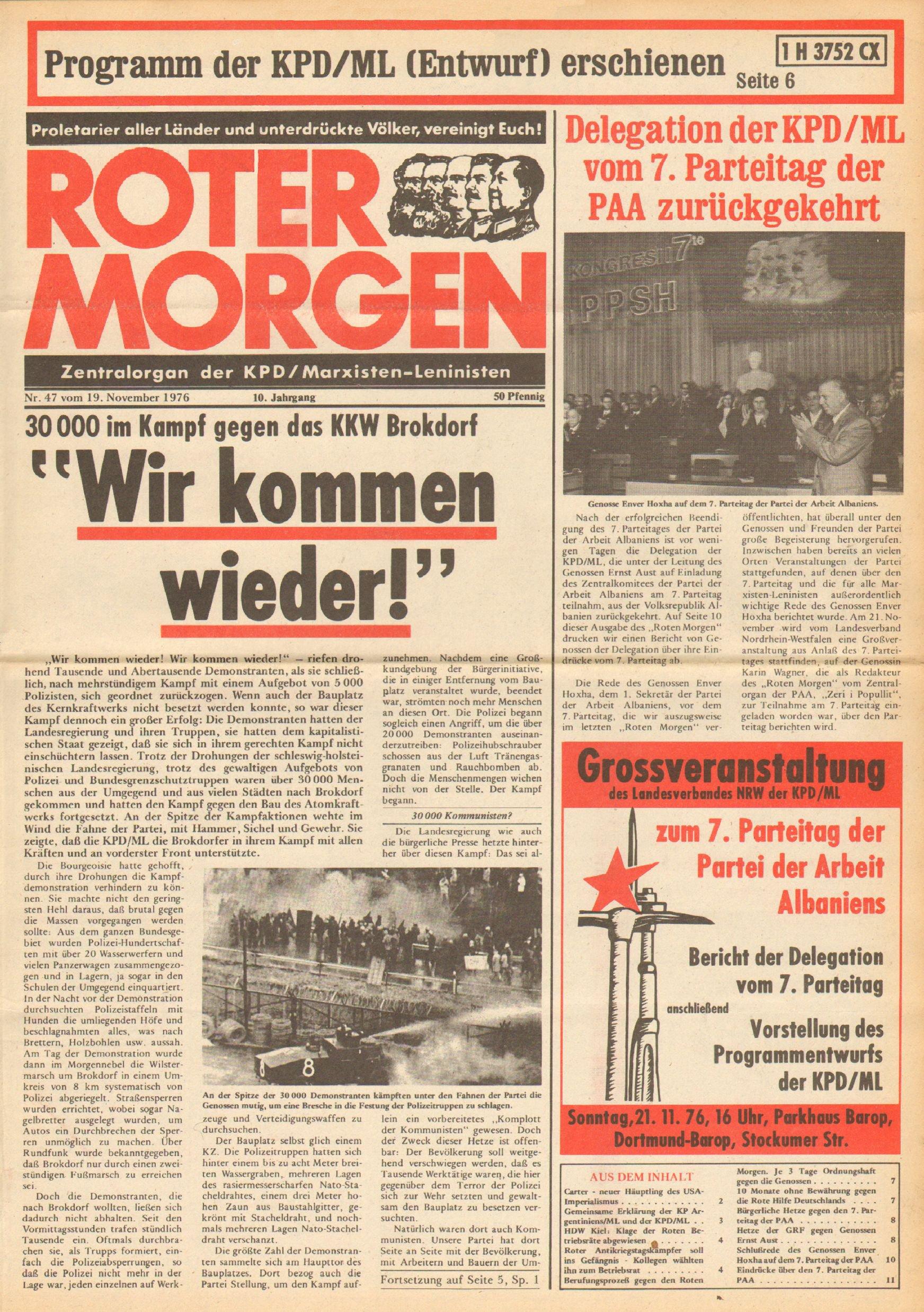 Roter Morgen, 10. Jg., 19. November 1976, Nr. 47, Seite 1