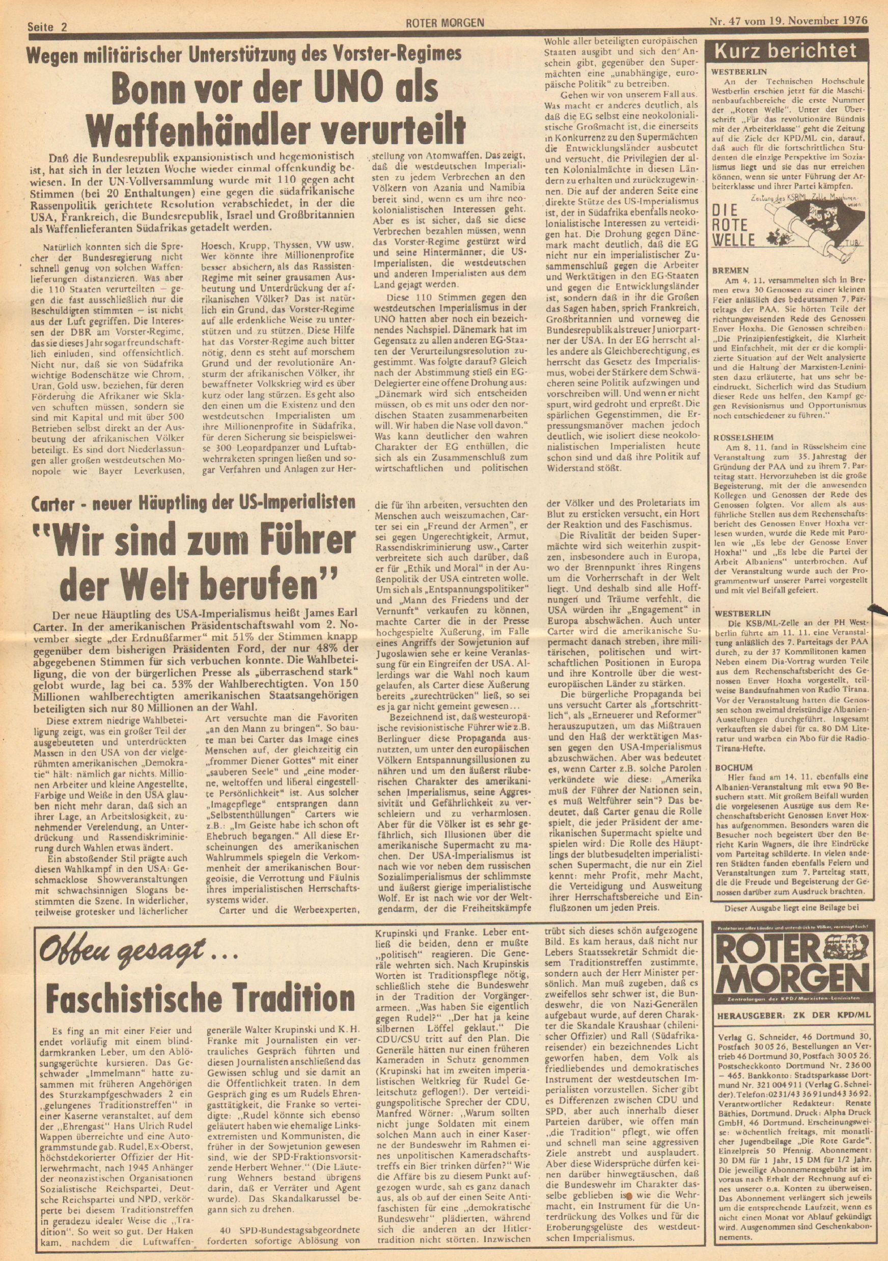 Roter Morgen, 10. Jg., 19. November 1976, Nr. 47, Seite 2
