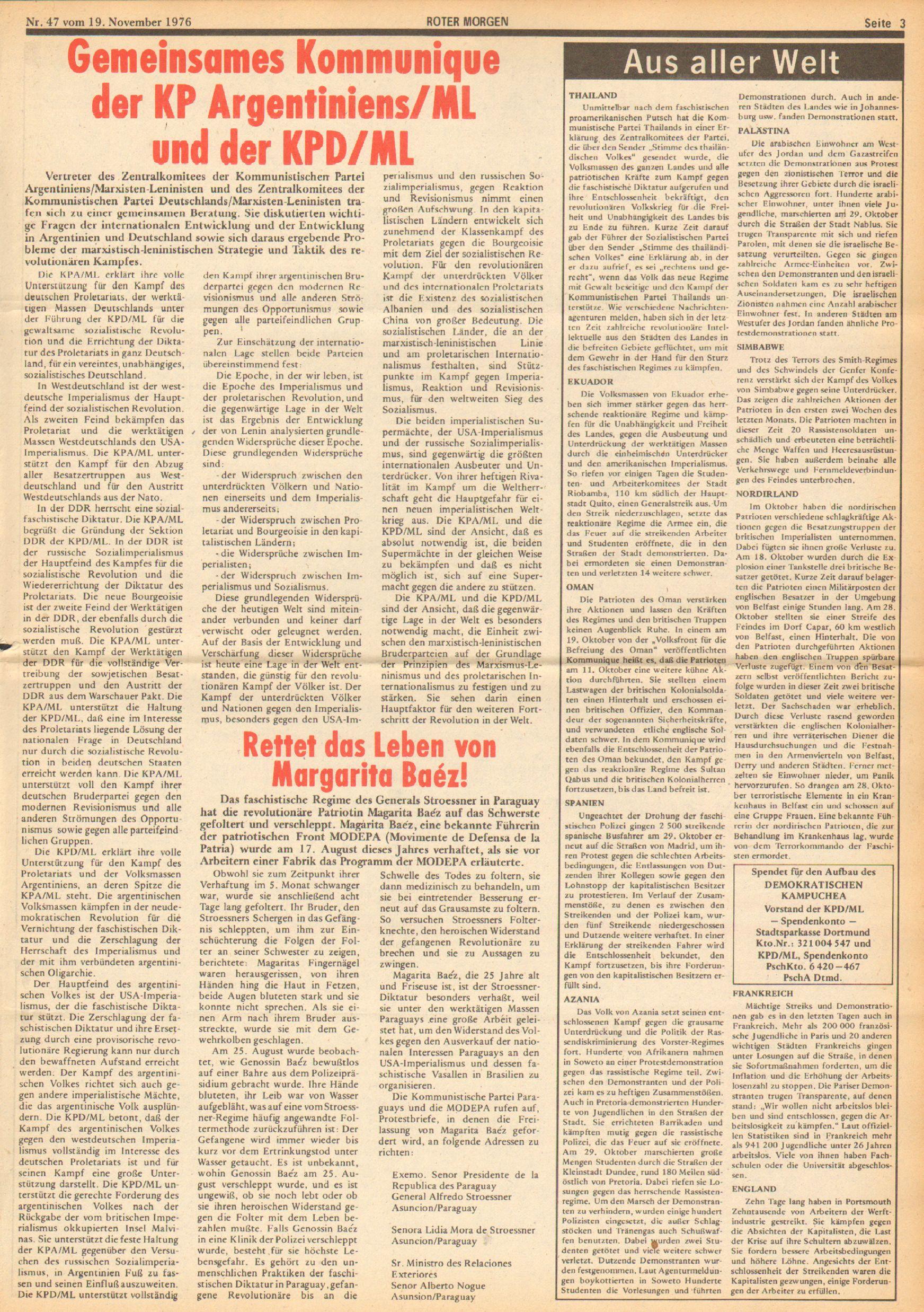 Roter Morgen, 10. Jg., 19. November 1976, Nr. 47, Seite 3