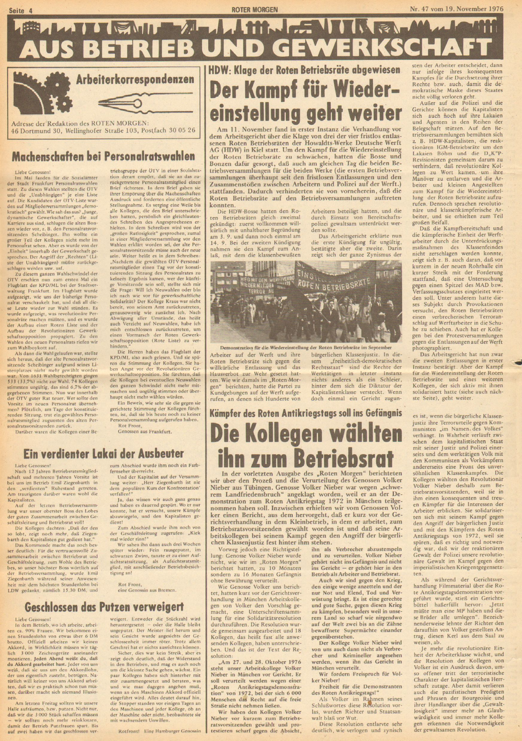 Roter Morgen, 10. Jg., 19. November 1976, Nr. 47, Seite 4