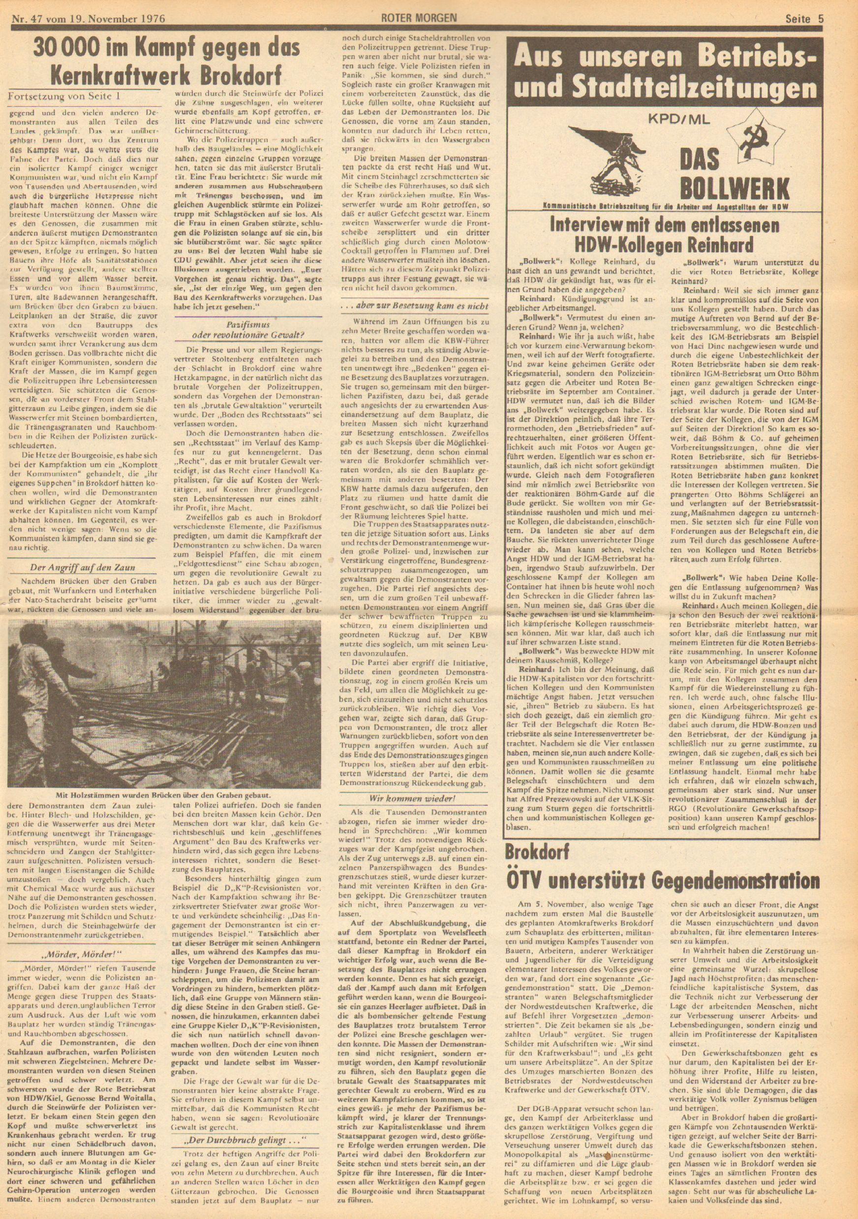 Roter Morgen, 10. Jg., 19. November 1976, Nr. 47, Seite 5