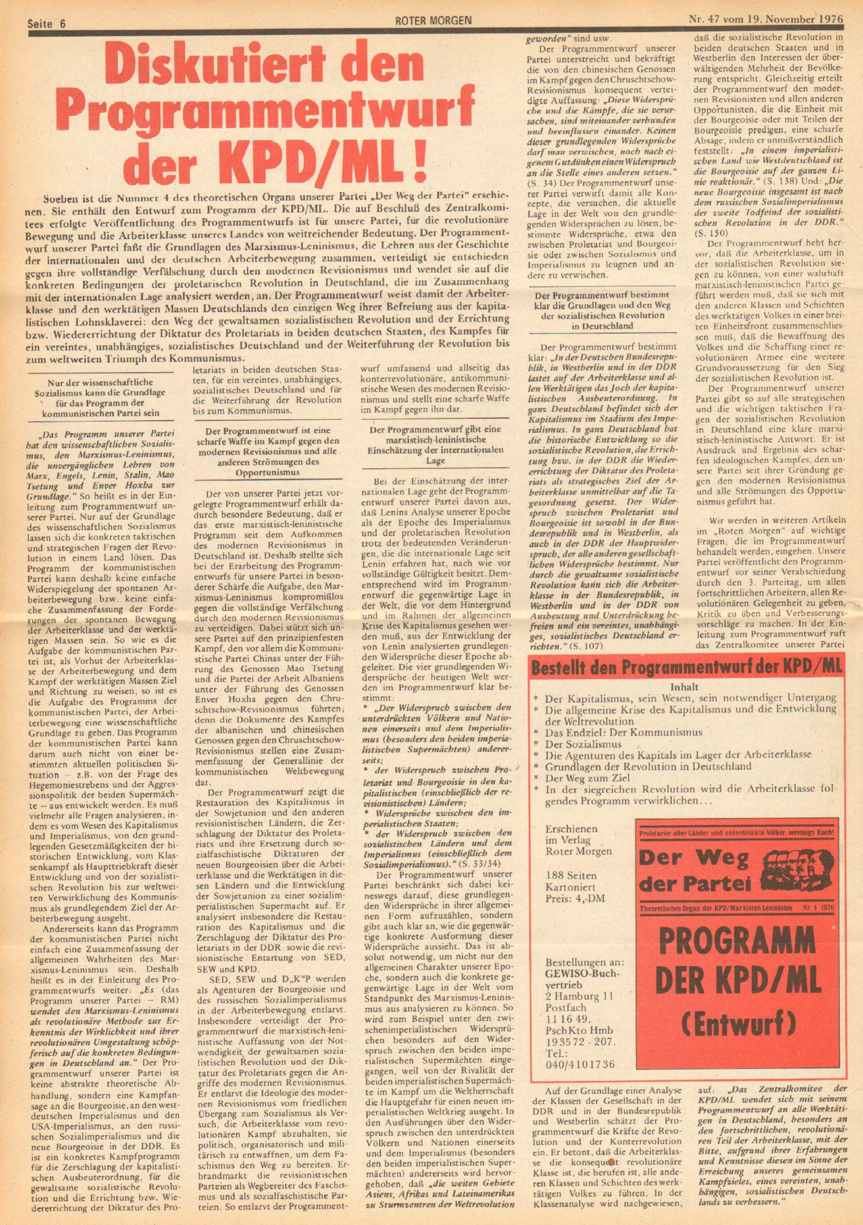 Roter Morgen, 10. Jg., 19. November 1976, Nr. 47, Seite 6