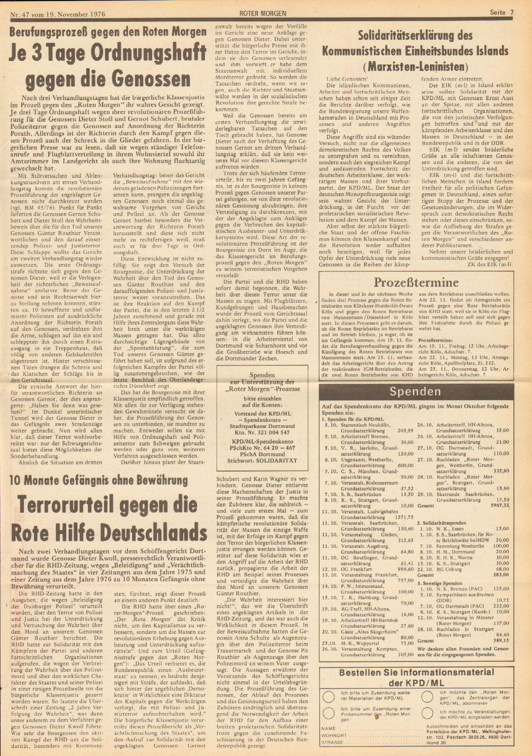 Roter Morgen, 10. Jg., 19. November 1976, Nr. 47, Seite 7