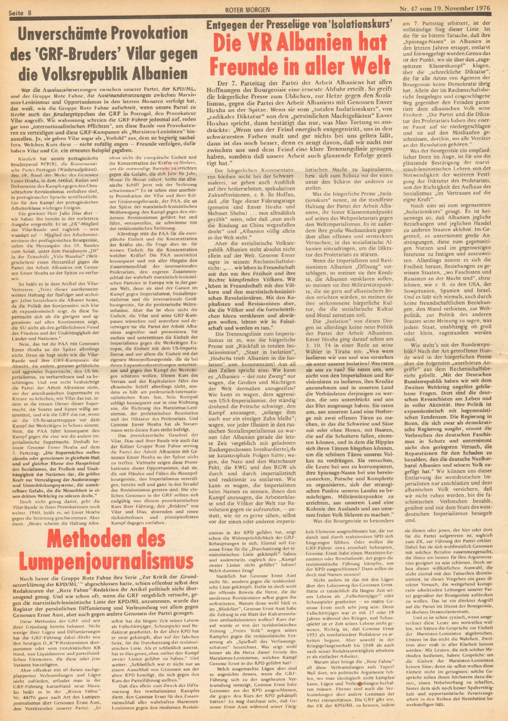 Roter Morgen, 10. Jg., 19. November 1976, Nr. 47, Seite 8