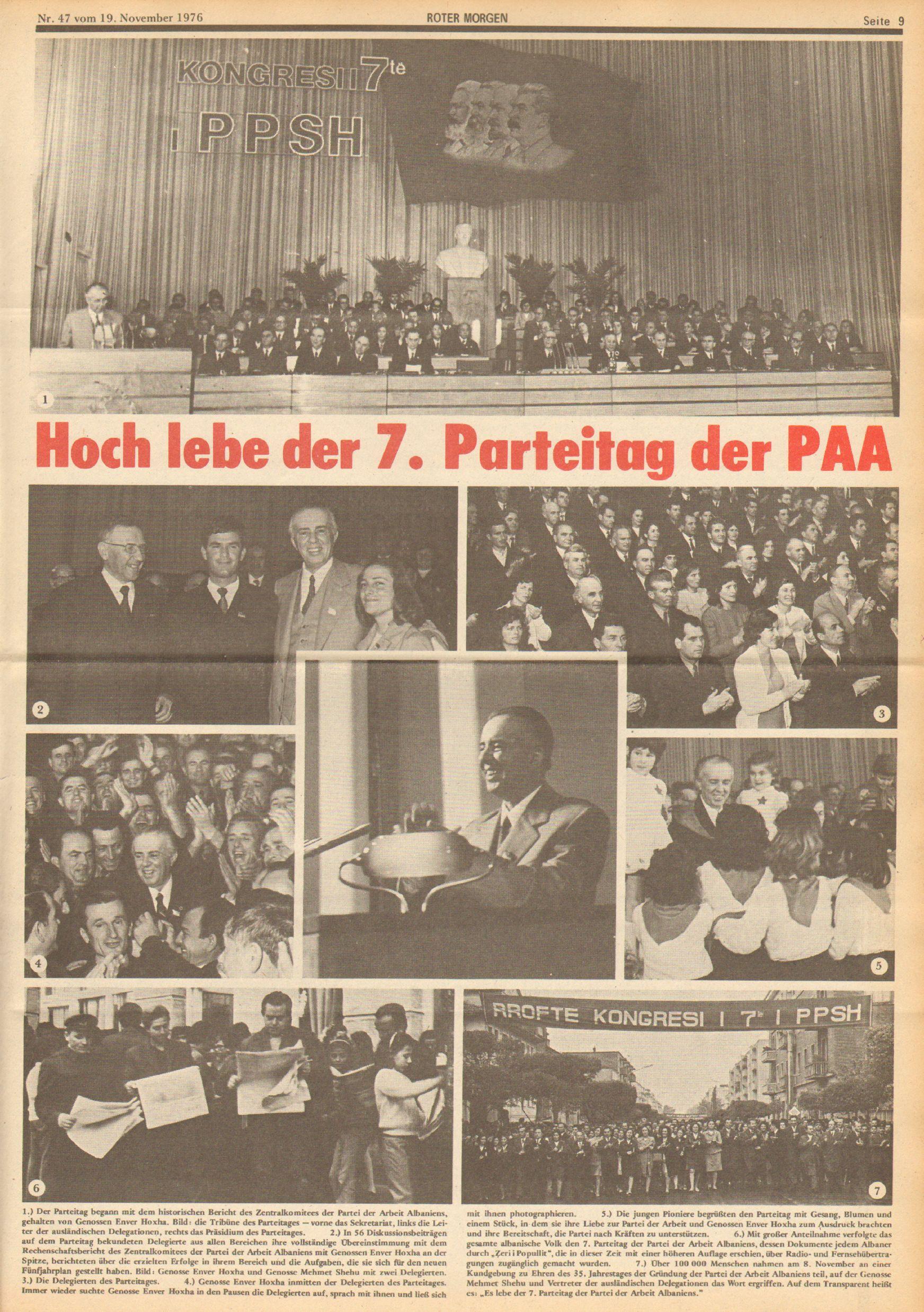 Roter Morgen, 10. Jg., 19. November 1976, Nr. 47, Seite 9