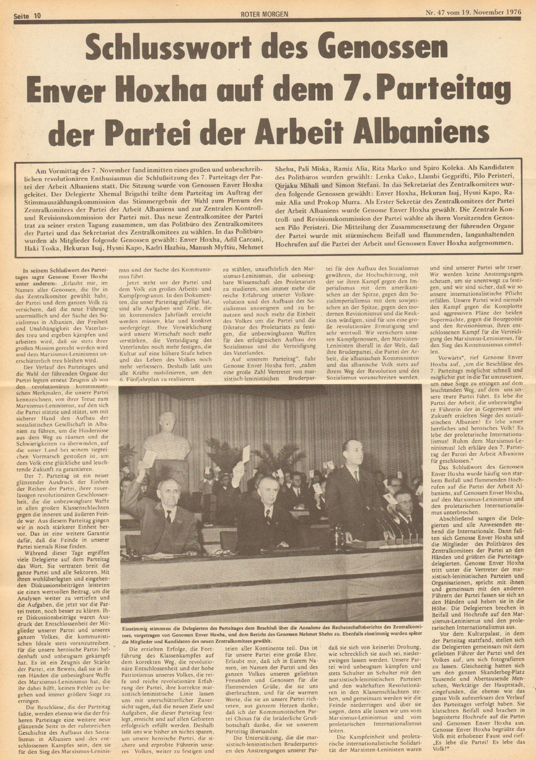 Roter Morgen, 10. Jg., 19. November 1976, Nr. 47, Seite 10