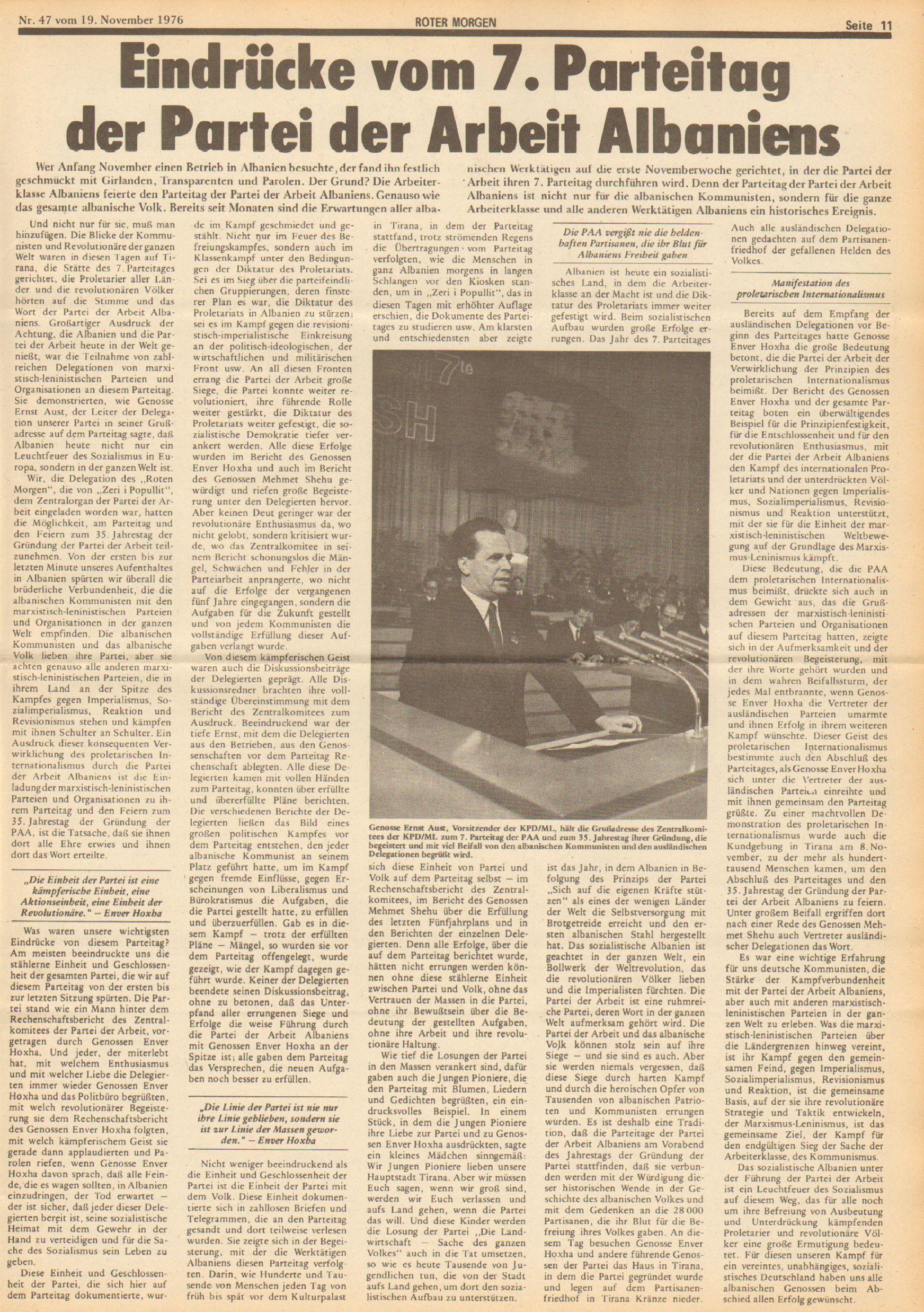 Roter Morgen, 10. Jg., 19. November 1976, Nr. 47, Seite 11