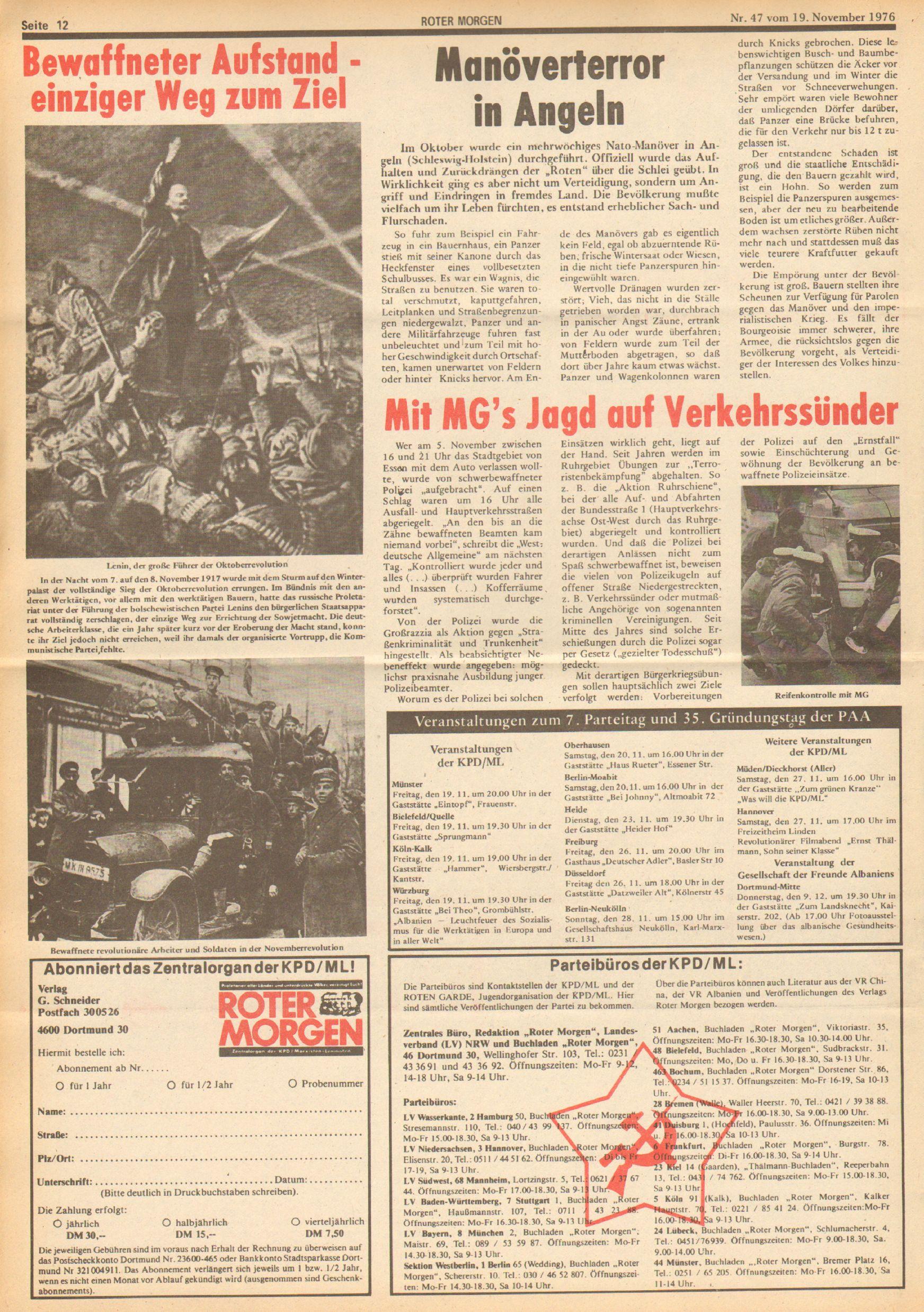 Roter Morgen, 10. Jg., 19. November 1976, Nr. 47, Seite 12