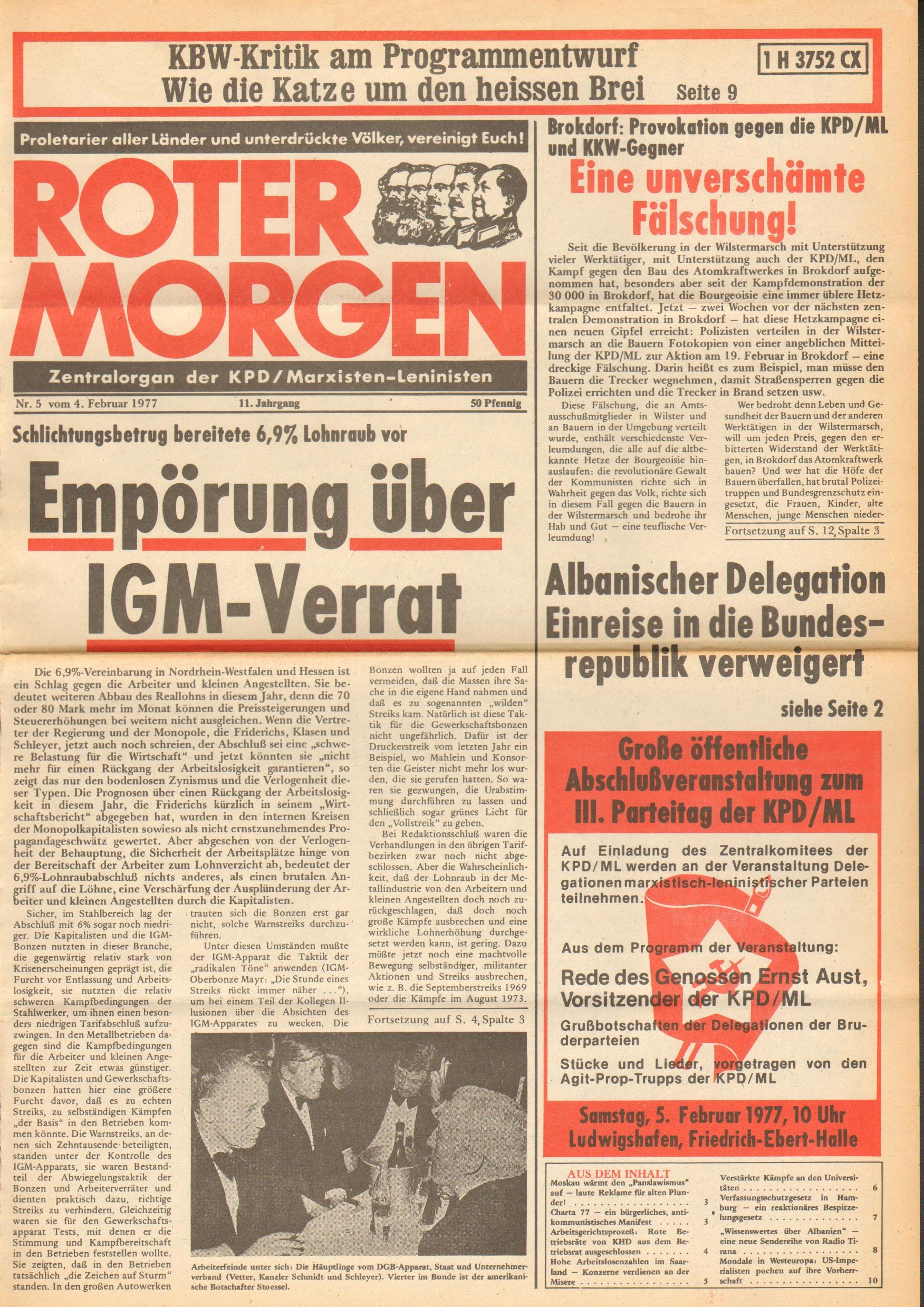 Roter Morgen, 11. Jg., 4. Februar 1977, Nr. 5, Seite 1