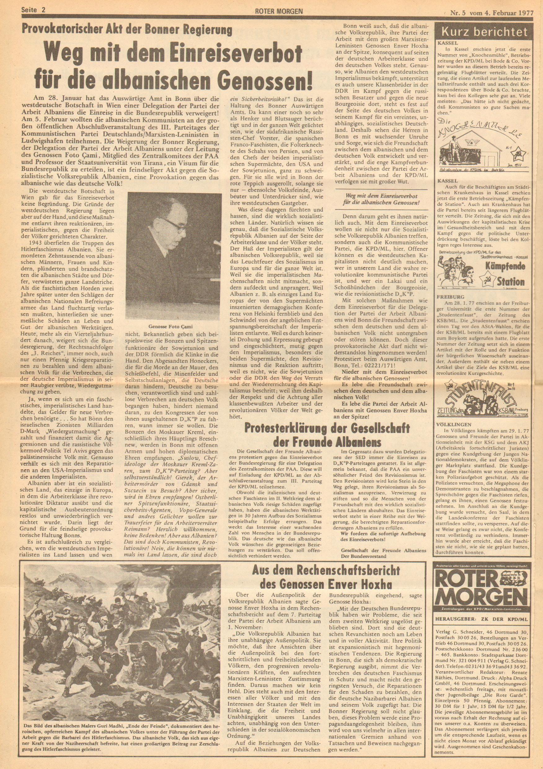 Roter Morgen, 11. Jg., 4. Februar 1977, Nr. 5, Seite 2