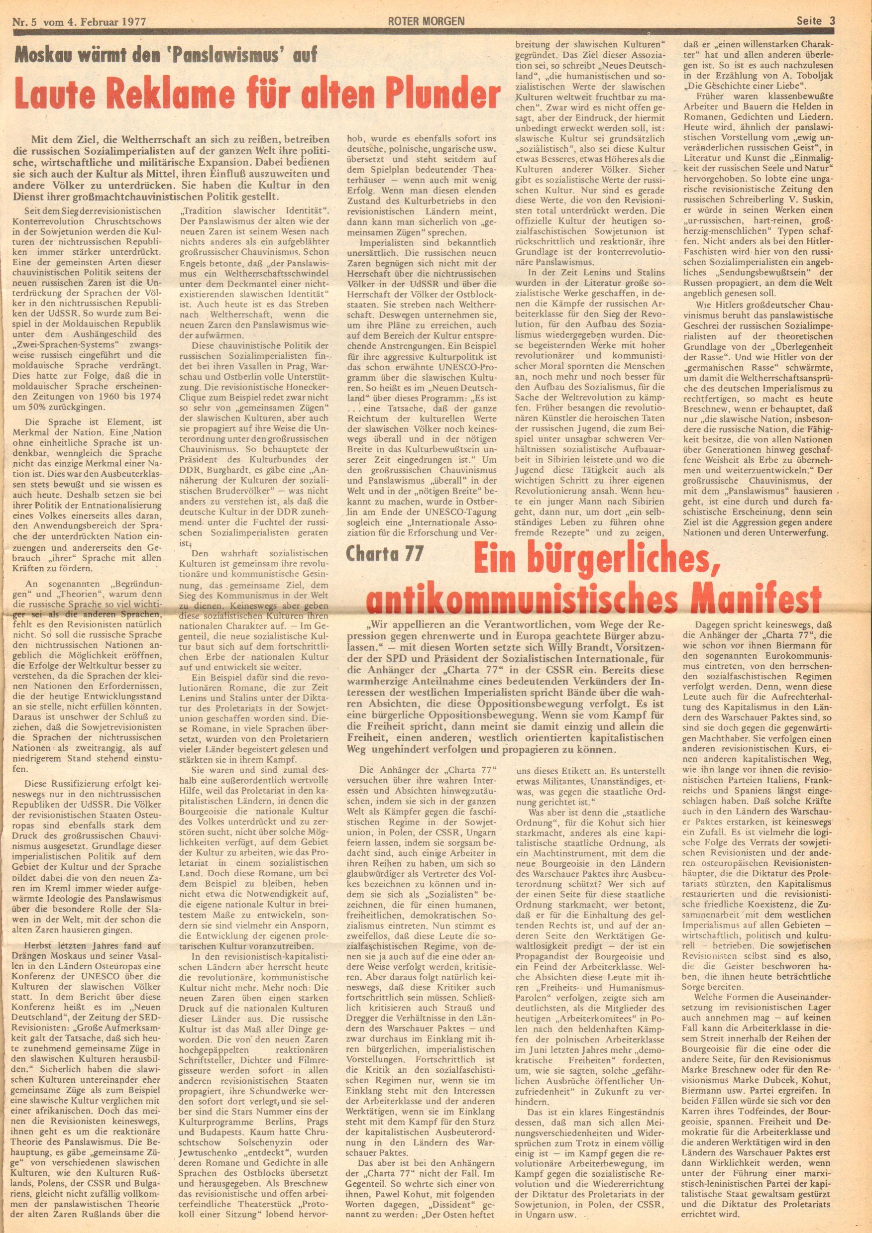 Roter Morgen, 11. Jg., 4. Februar 1977, Nr. 5, Seite 3