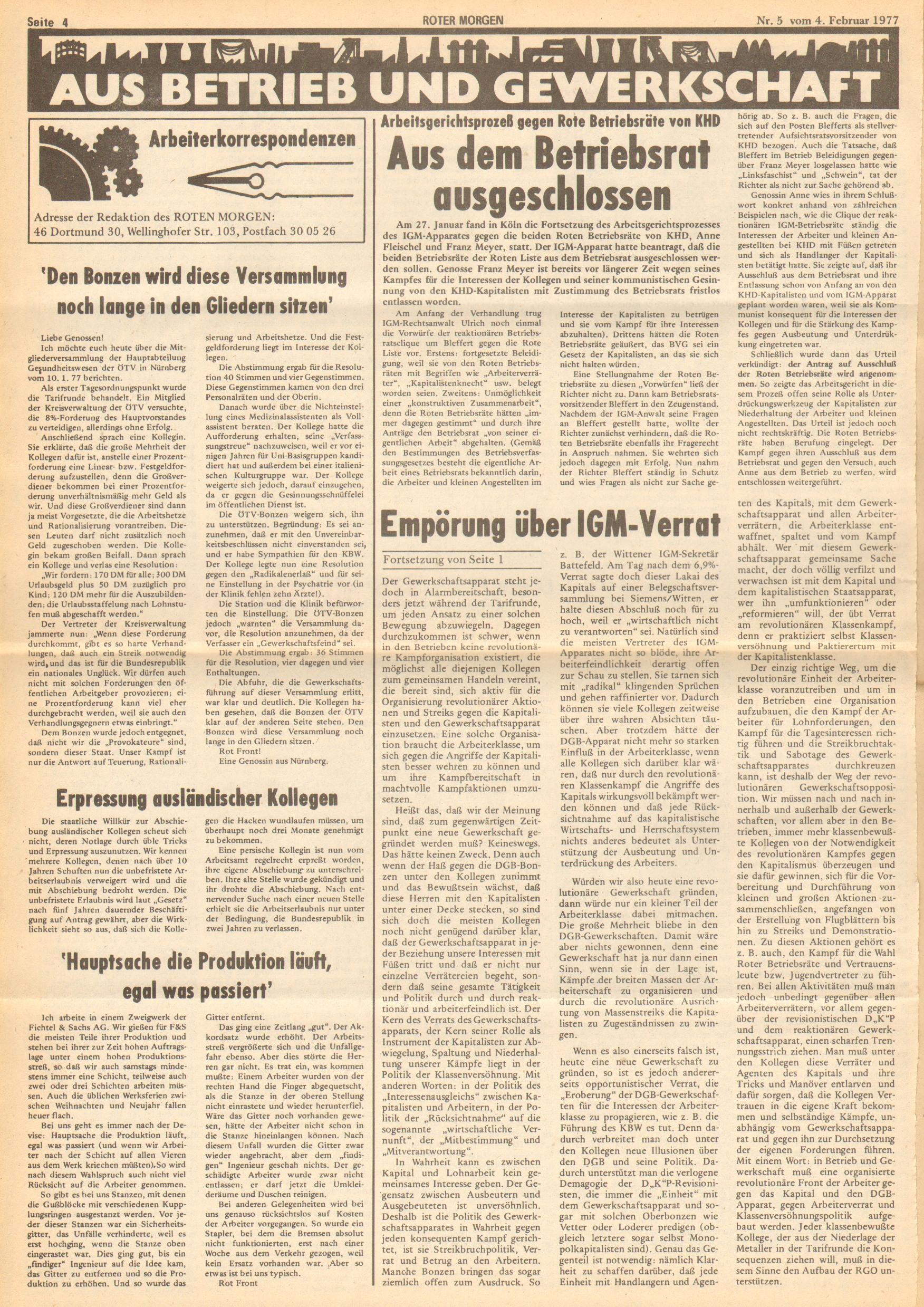 Roter Morgen, 11. Jg., 4. Februar 1977, Nr. 5, Seite 4