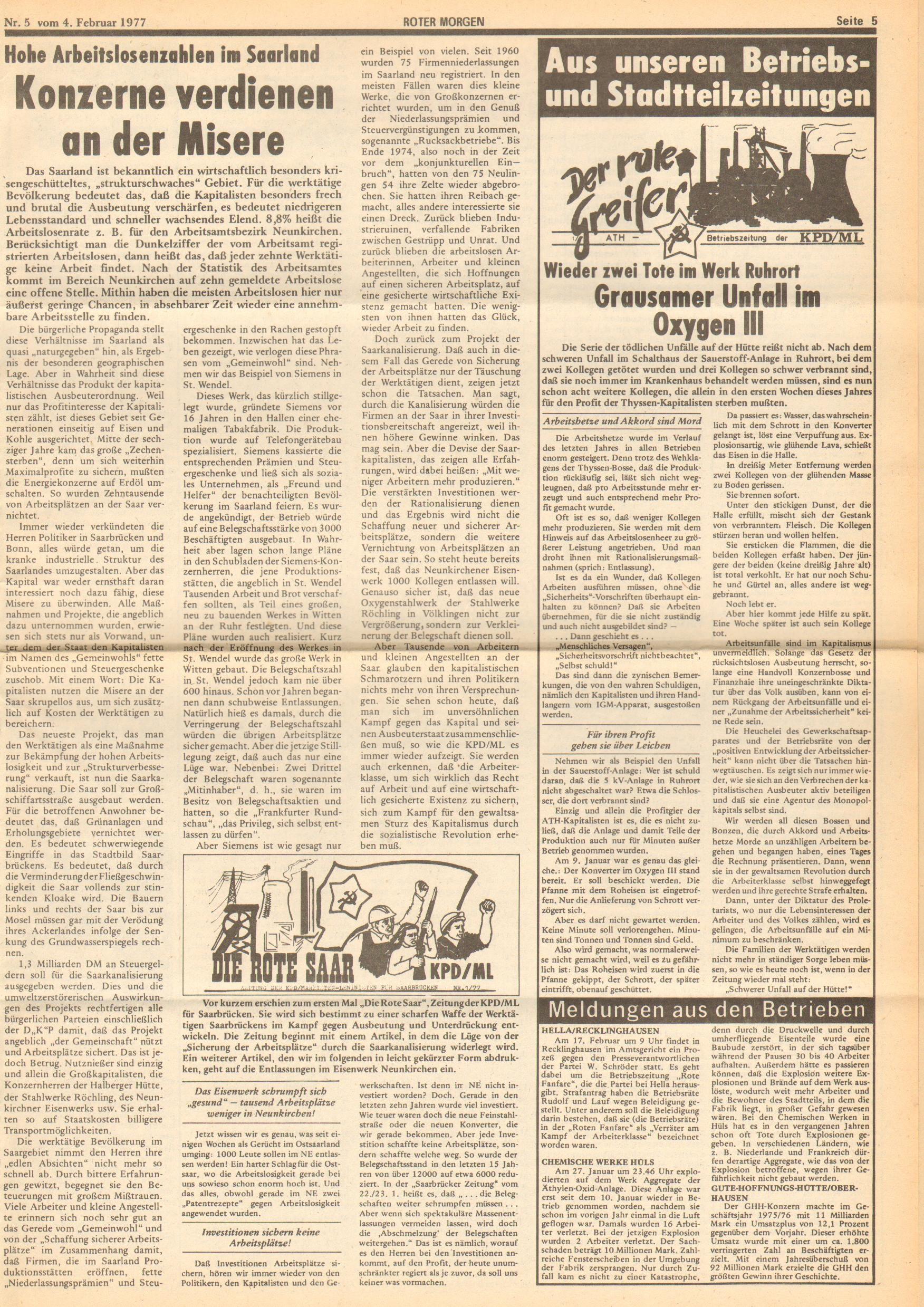 Roter Morgen, 11. Jg., 4. Februar 1977, Nr. 5, Seite 5