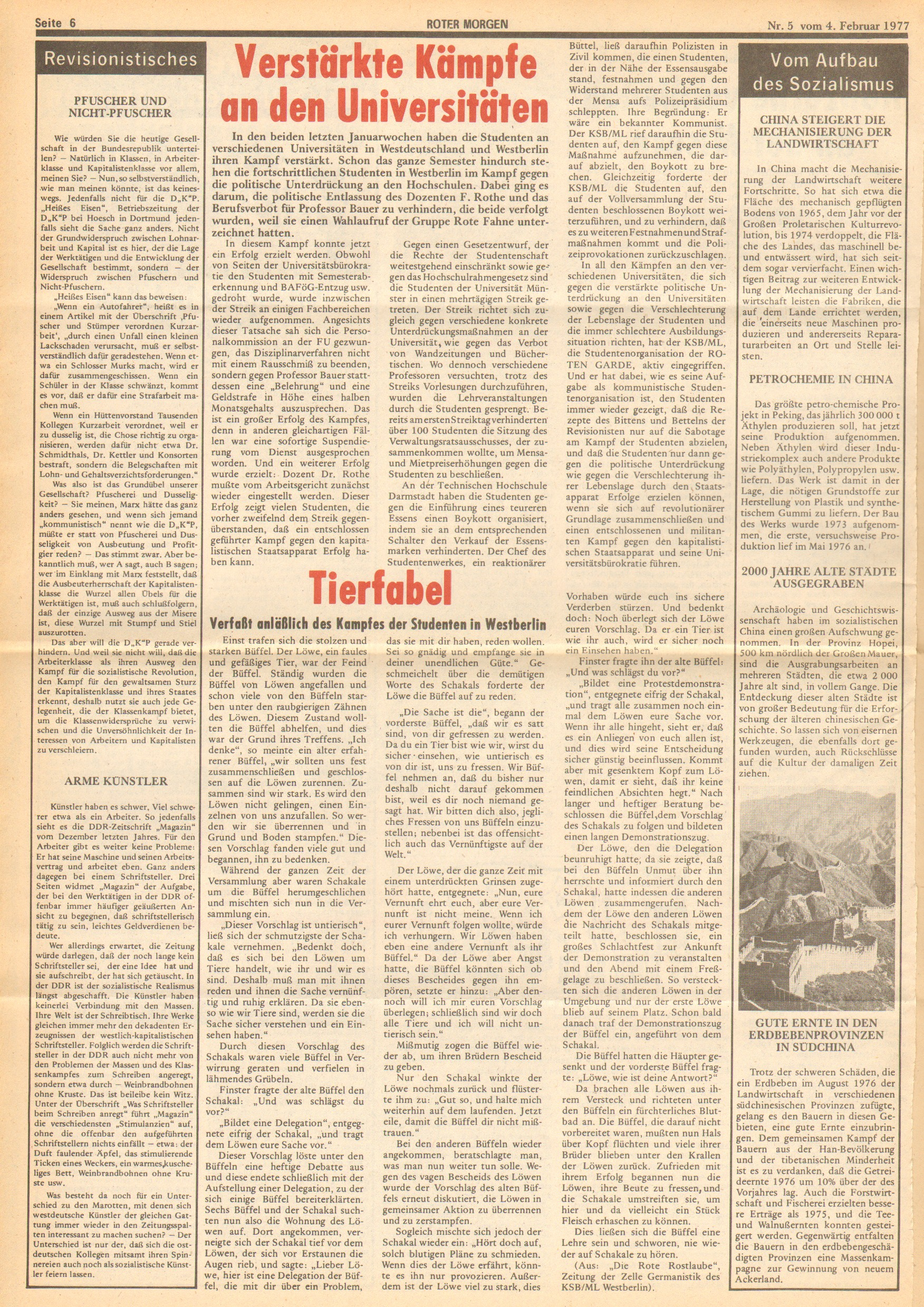 Roter Morgen, 11. Jg., 4. Februar 1977, Nr. 5, Seite 6