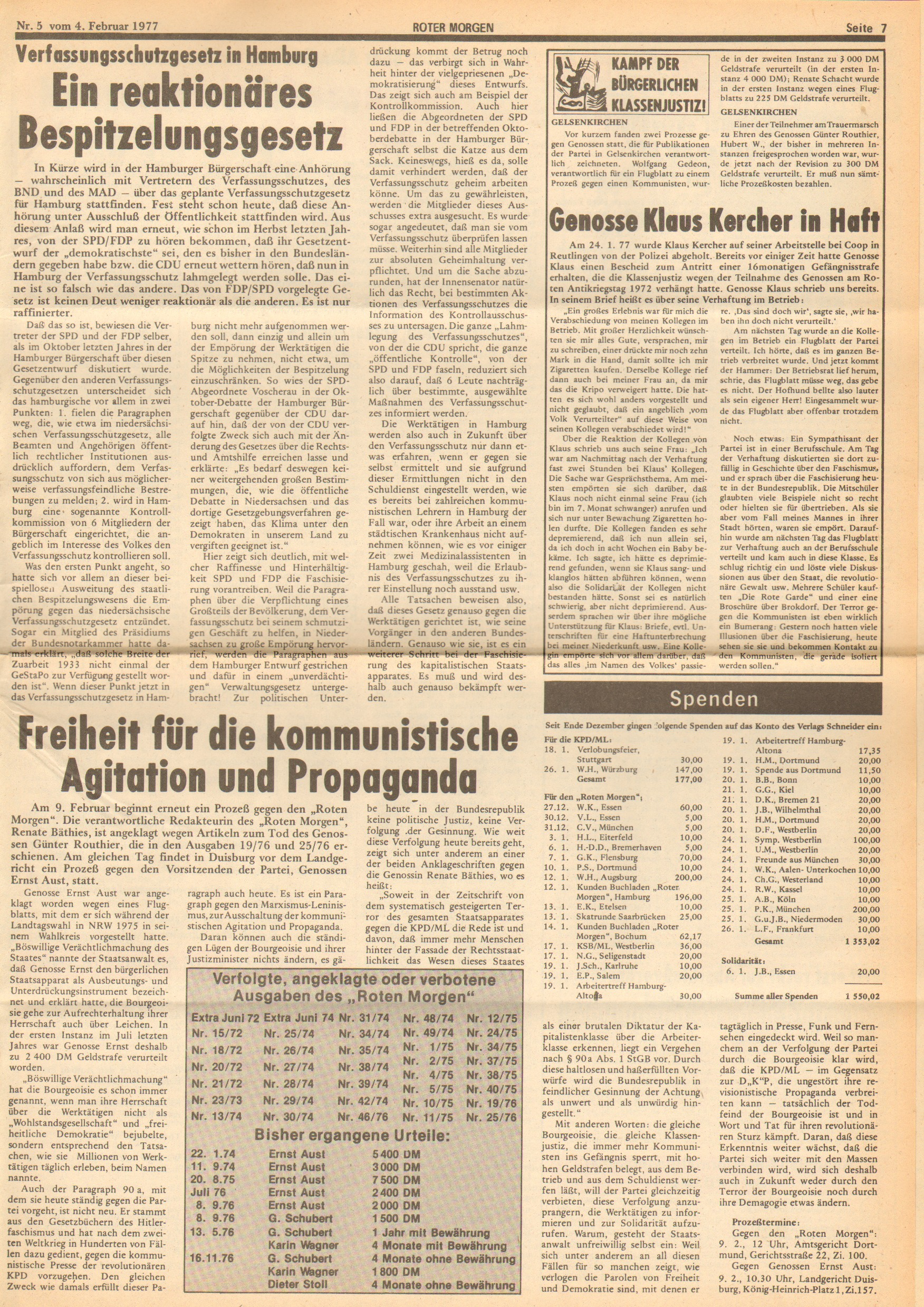 Roter Morgen, 11. Jg., 4. Februar 1977, Nr. 5, Seite 7