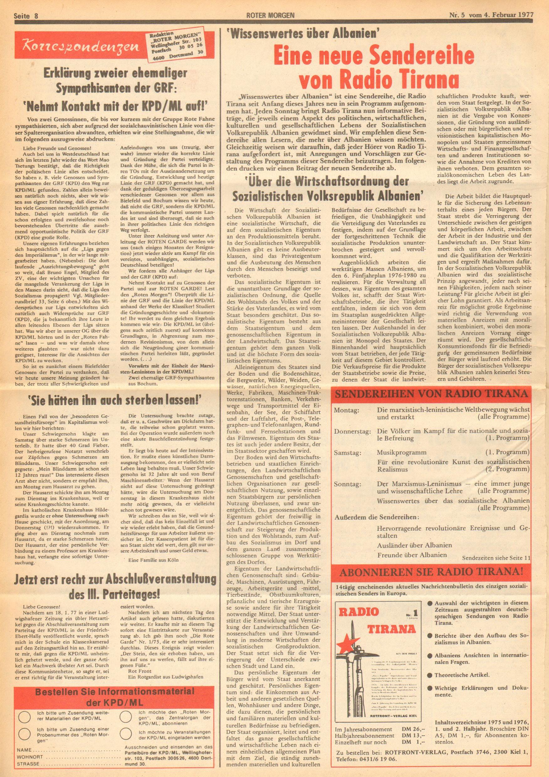 Roter Morgen, 11. Jg., 4. Februar 1977, Nr. 5, Seite 8