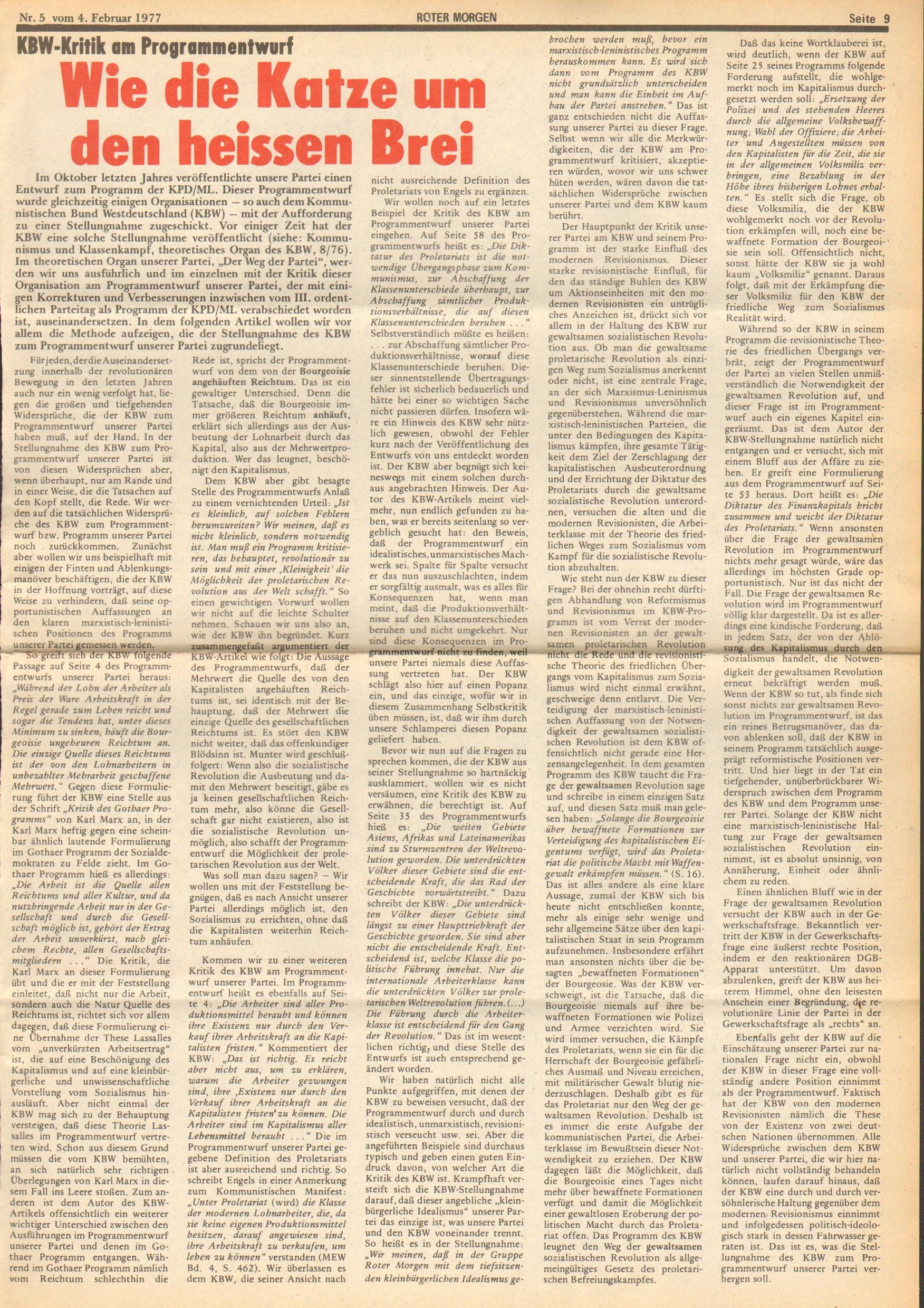 Roter Morgen, 11. Jg., 4. Februar 1977, Nr. 5, Seite 9