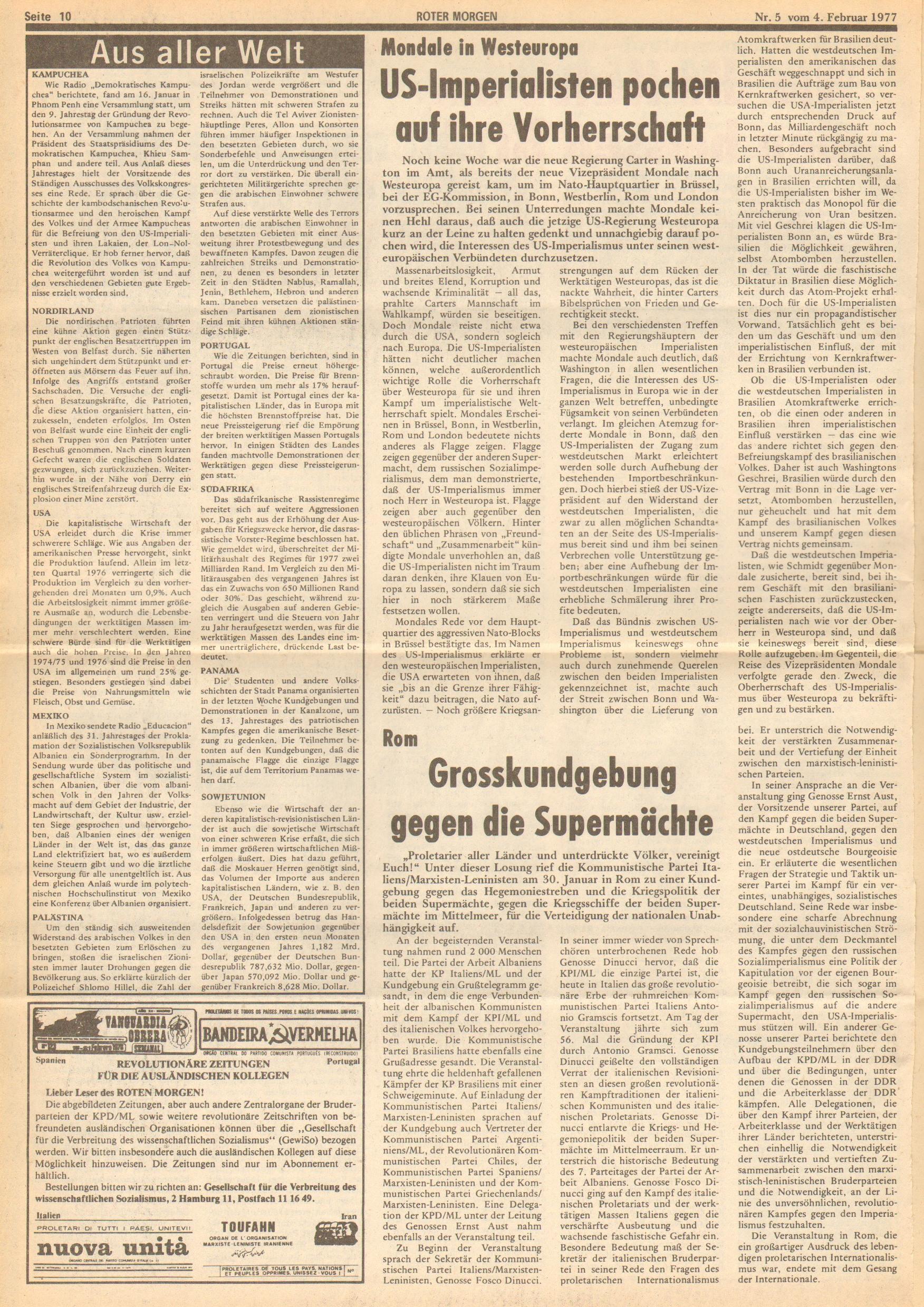 Roter Morgen, 11. Jg., 4. Februar 1977, Nr. 5, Seite 10