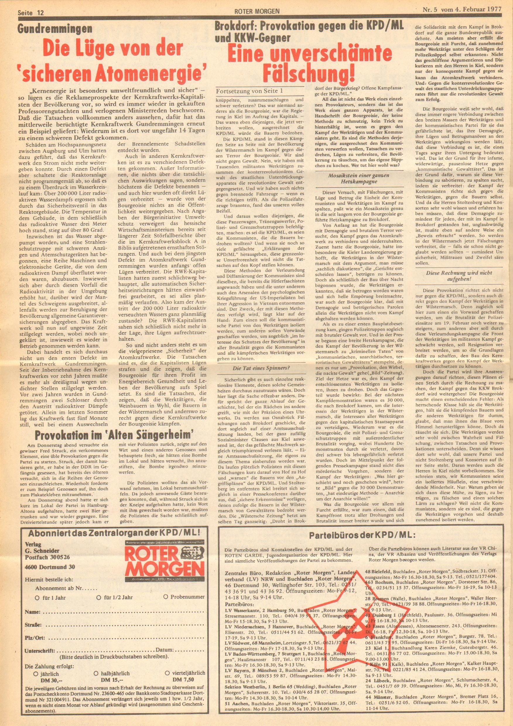Roter Morgen, 11. Jg., 4. Februar 1977, Nr. 5, Seite 12