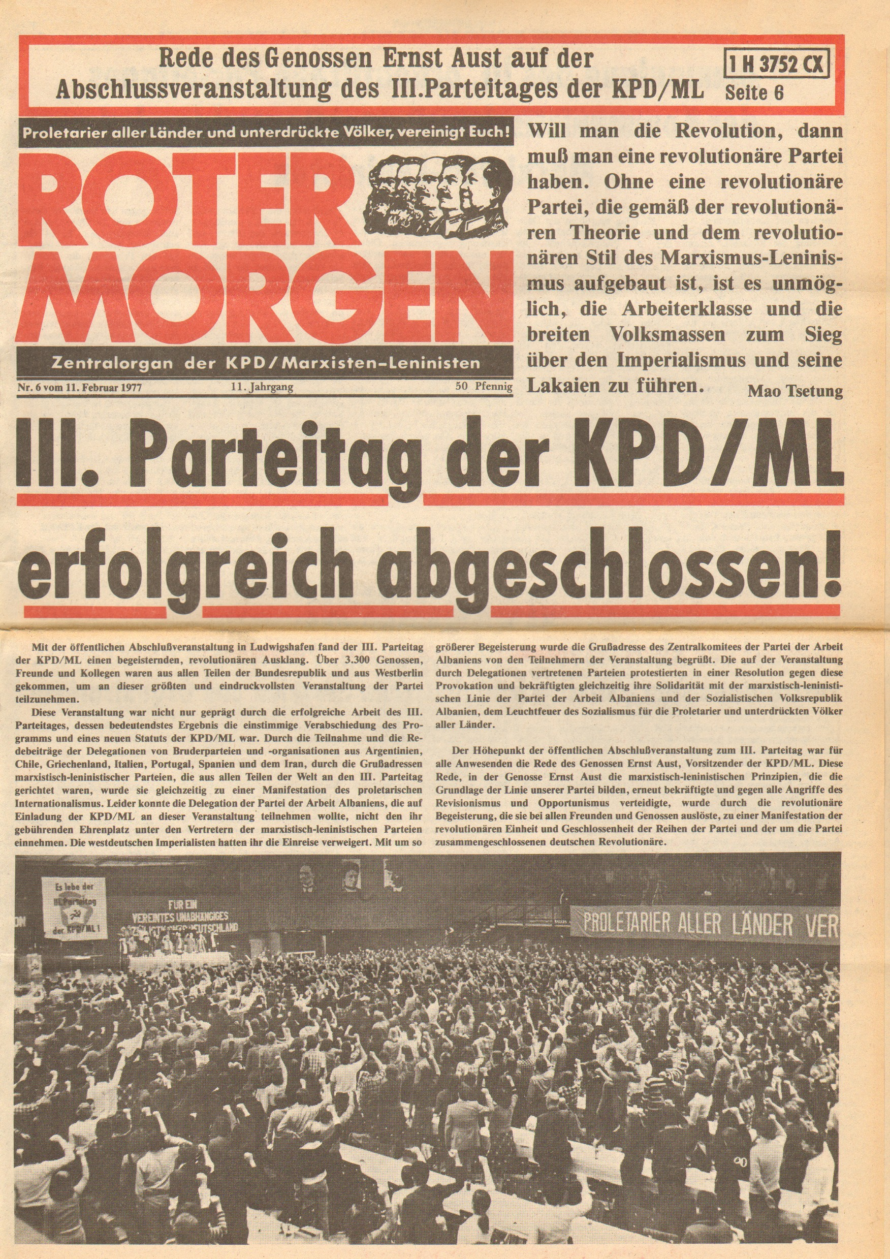 Roter Morgen, 11. Jg., 11. Februar 1977, Nr. 6, Seite 1