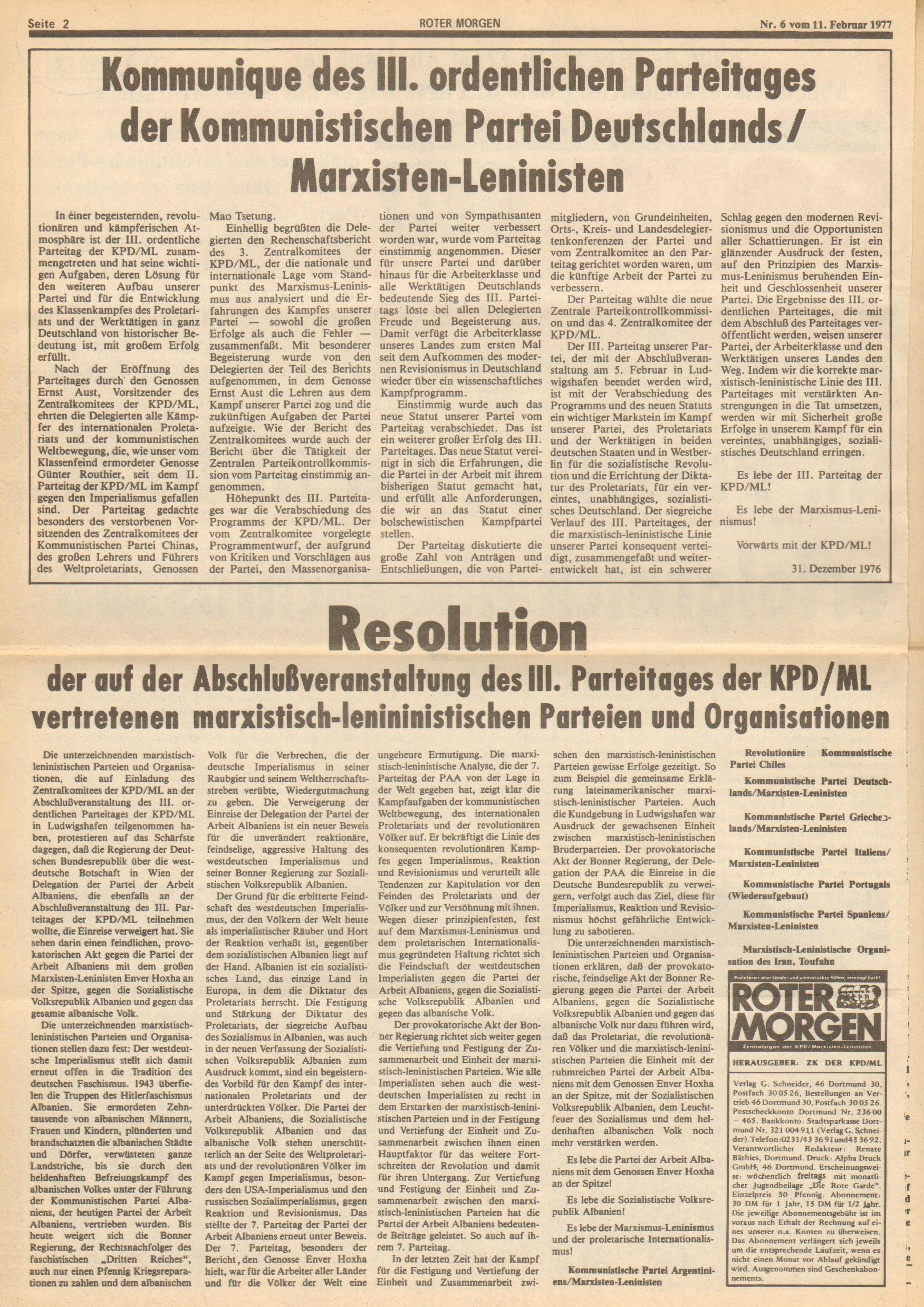 Roter Morgen, 11. Jg., 11. Februar 1977, Nr. 6, Seite 2
