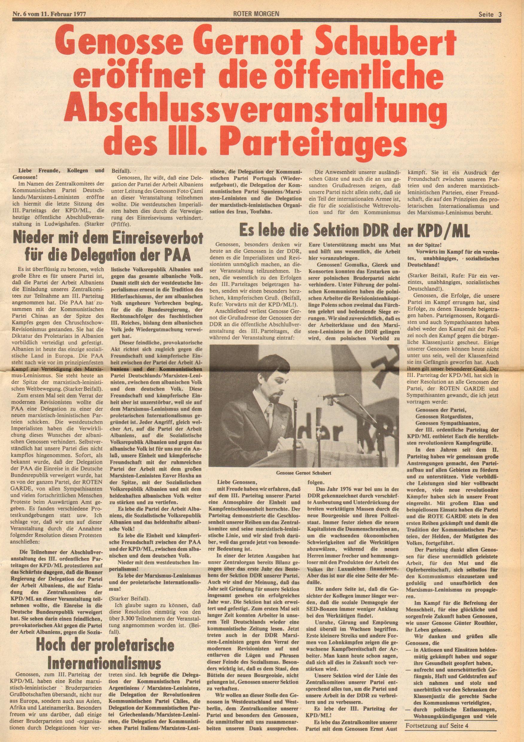 Roter Morgen, 11. Jg., 11. Februar 1977, Nr. 6, Seite 3