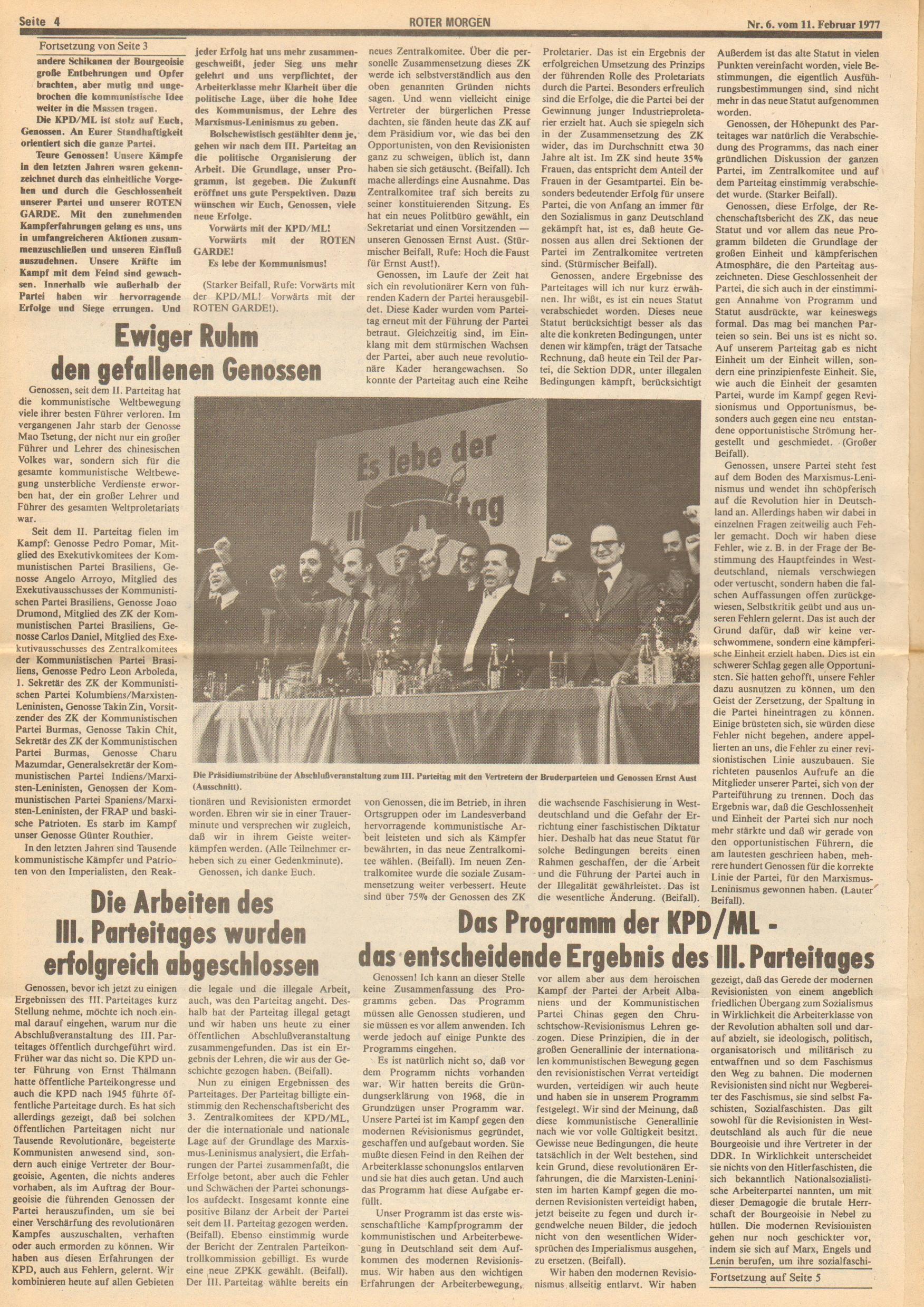 Roter Morgen, 11. Jg., 11. Februar 1977, Nr. 6, Seite 4
