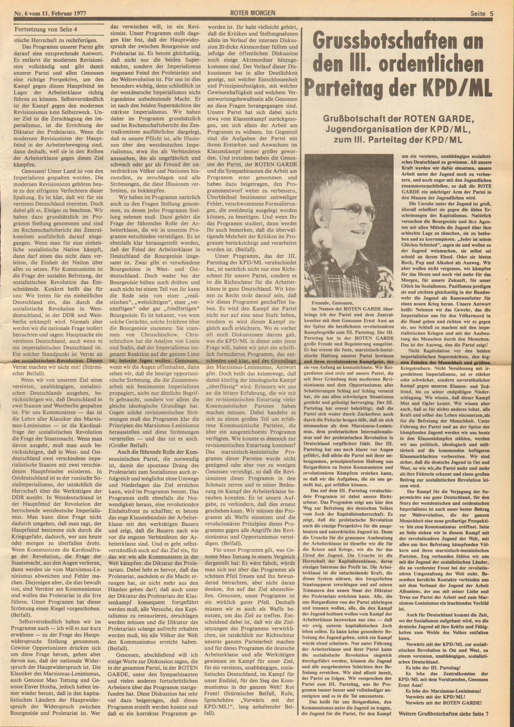 Roter Morgen, 11. Jg., 11. Februar 1977, Nr. 6, Seite 5