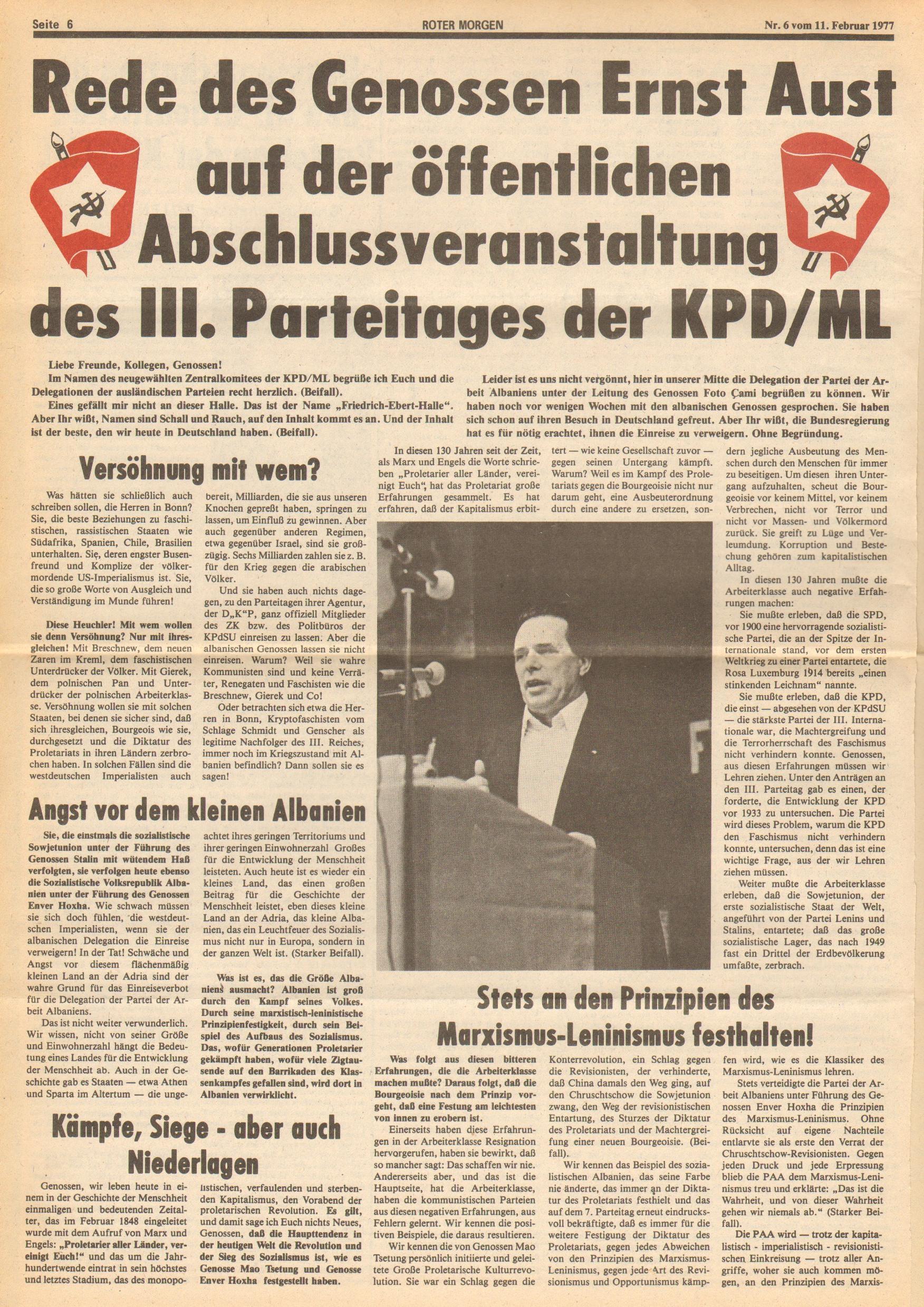 Roter Morgen, 11. Jg., 11. Februar 1977, Nr. 6, Seite 6