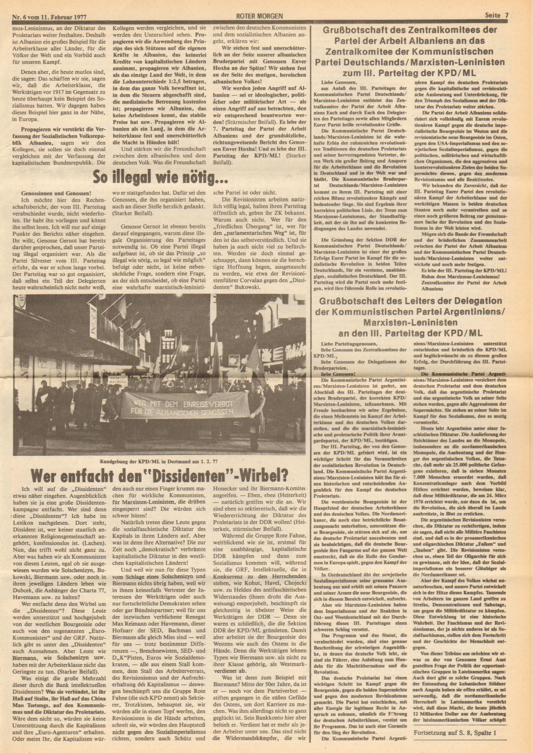 Roter Morgen, 11. Jg., 11. Februar 1977, Nr. 6, Seite 7