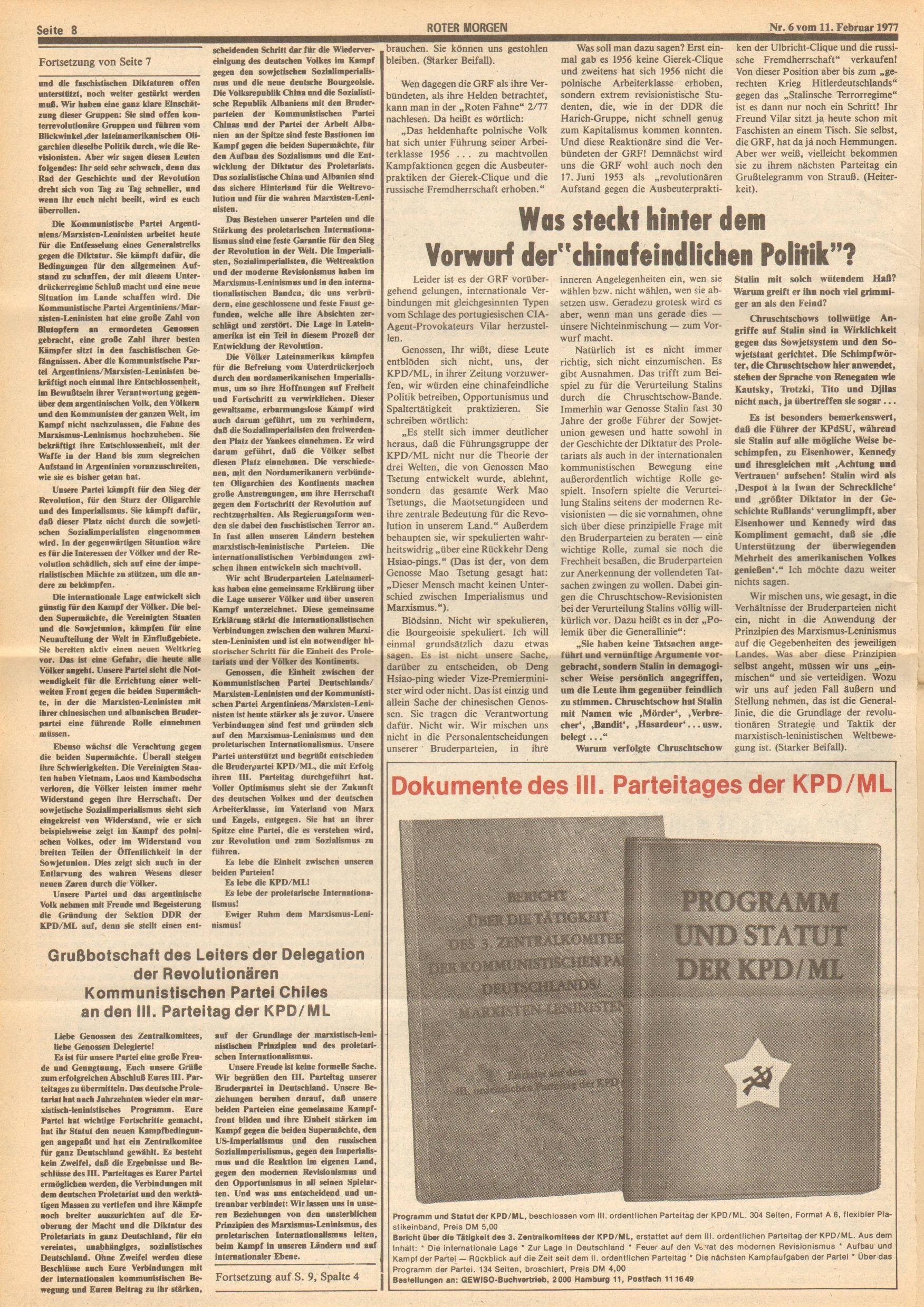 Roter Morgen, 11. Jg., 11. Februar 1977, Nr. 6, Seite 8