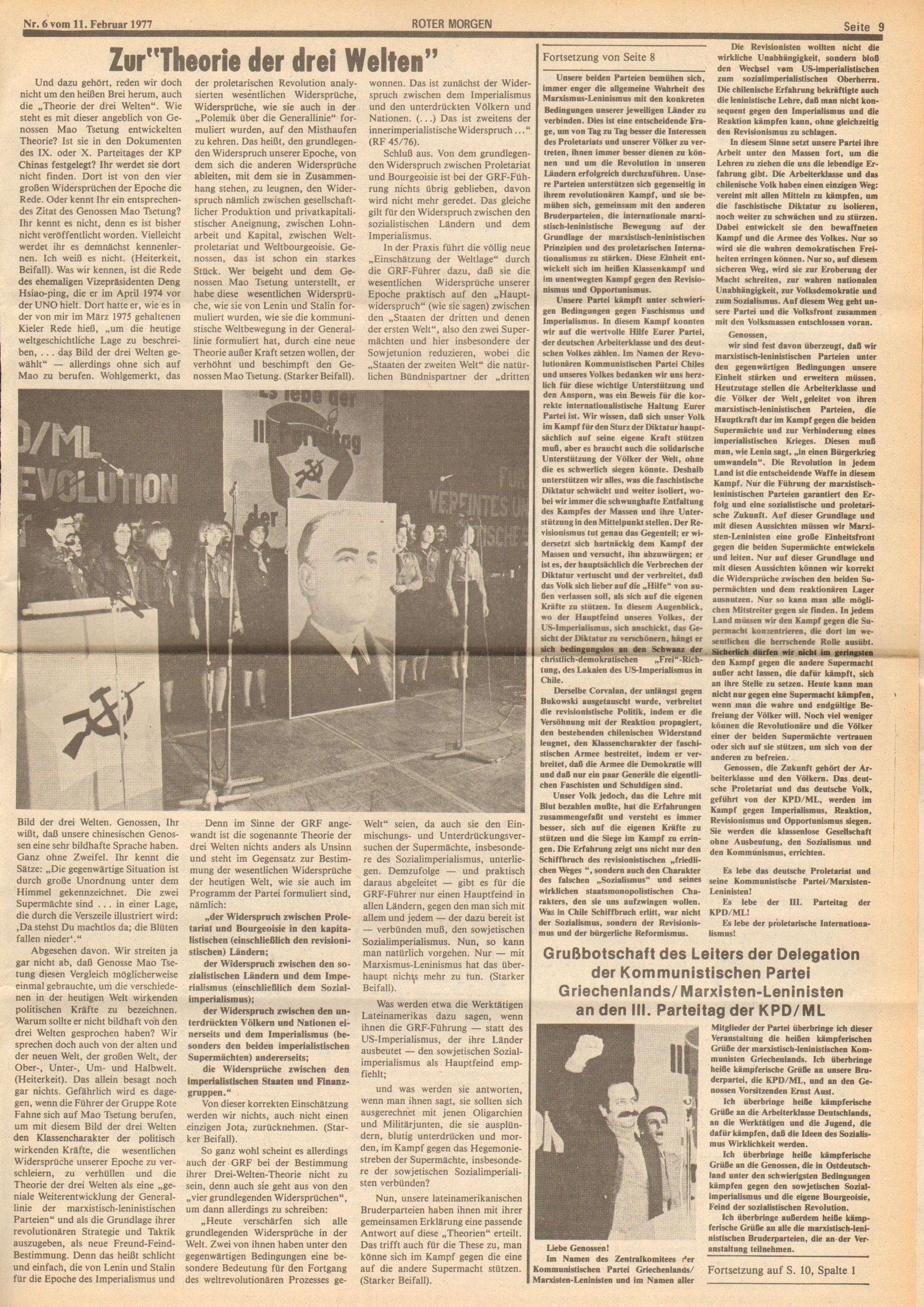 Roter Morgen, 11. Jg., 11. Februar 1977, Nr. 6, Seite 9
