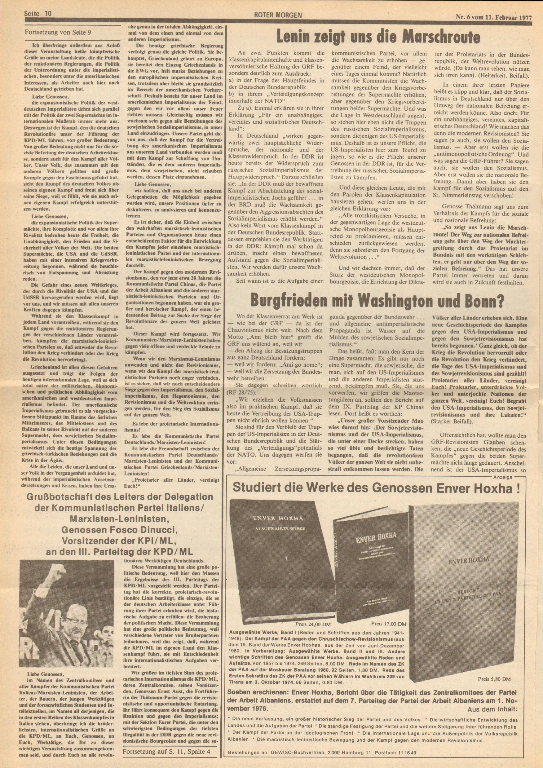 Roter Morgen, 11. Jg., 11. Februar 1977, Nr. 6, Seite 10