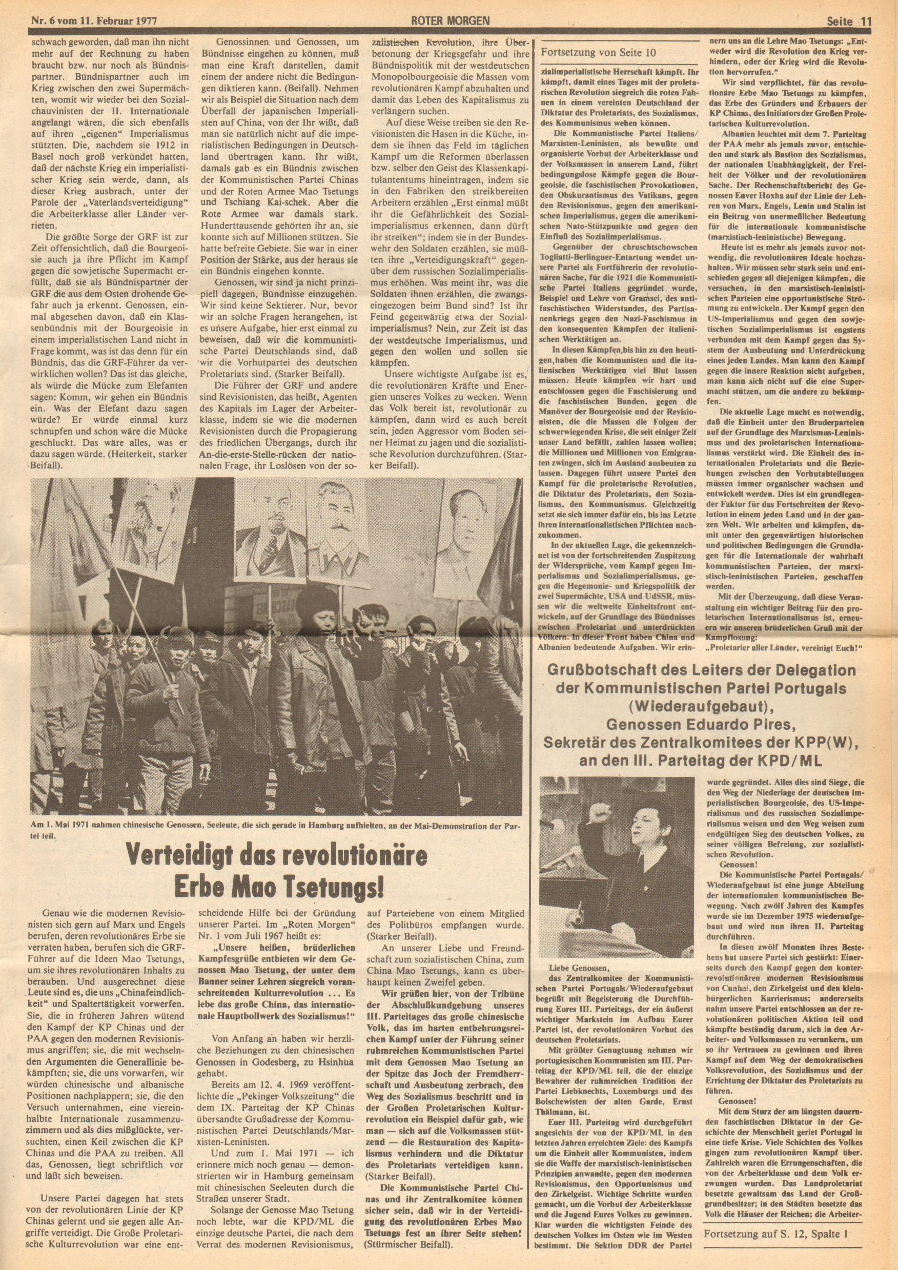 Roter Morgen, 11. Jg., 11. Februar 1977, Nr. 6, Seite 11