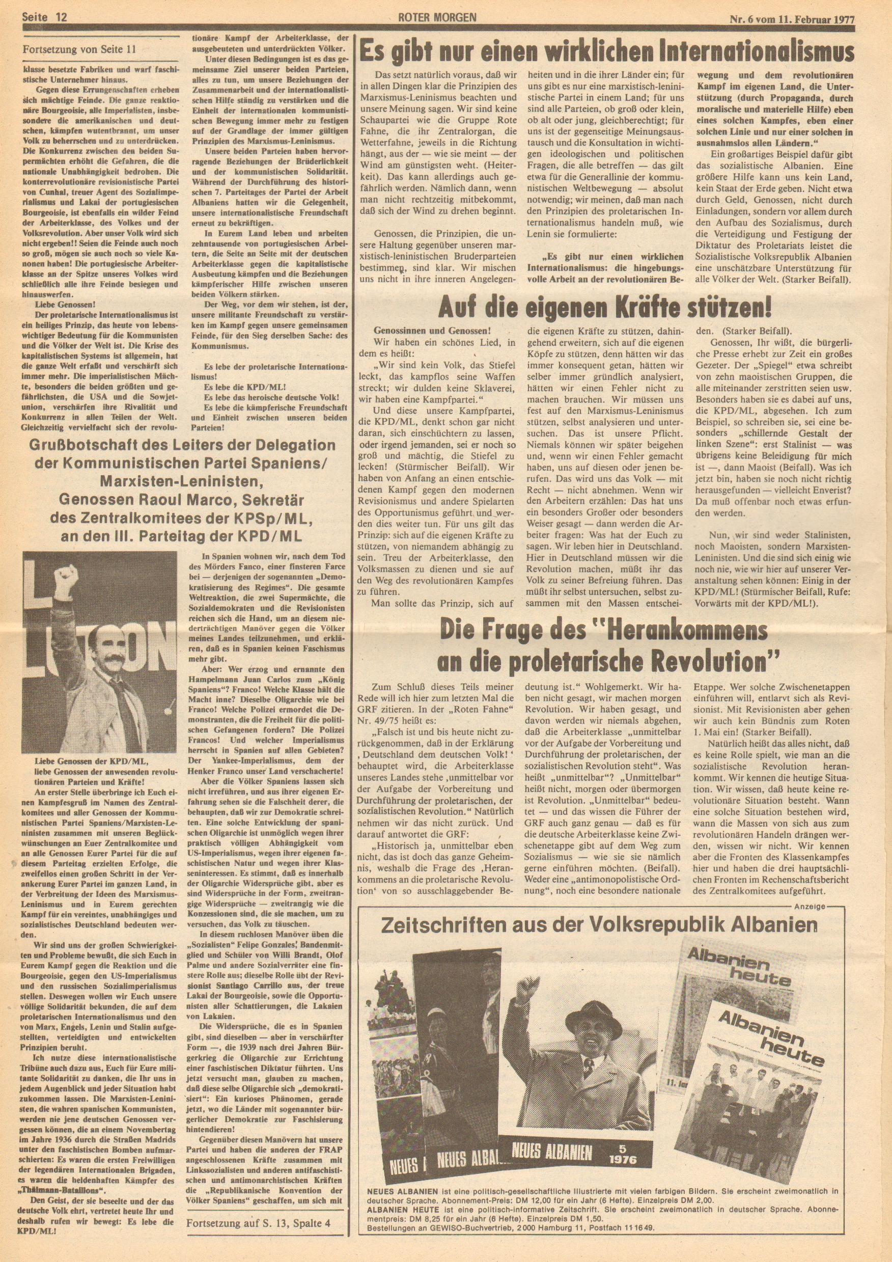 Roter Morgen, 11. Jg., 11. Februar 1977, Nr. 6, Seite 12