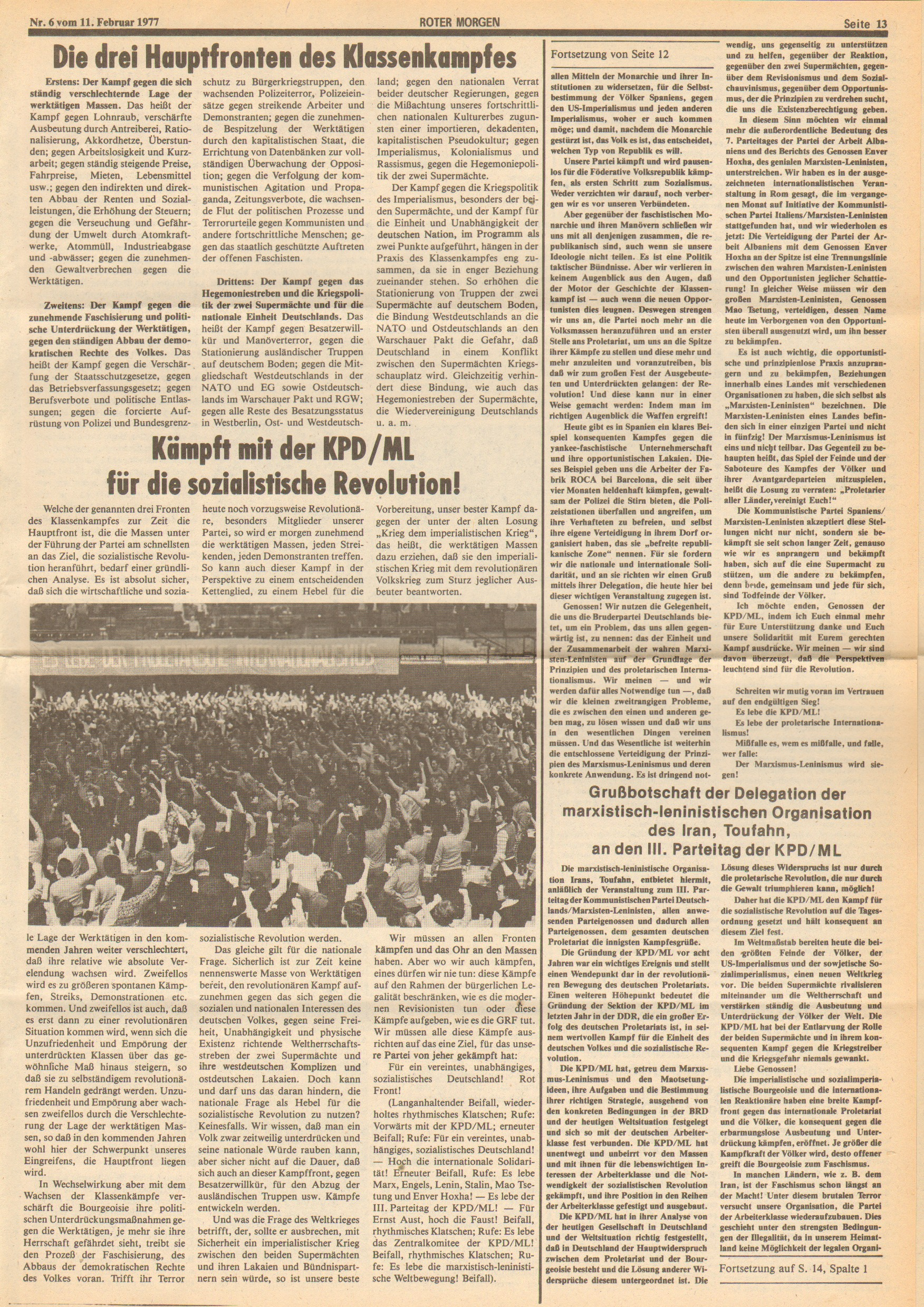 Roter Morgen, 11. Jg., 11. Februar 1977, Nr. 6, Seite 13