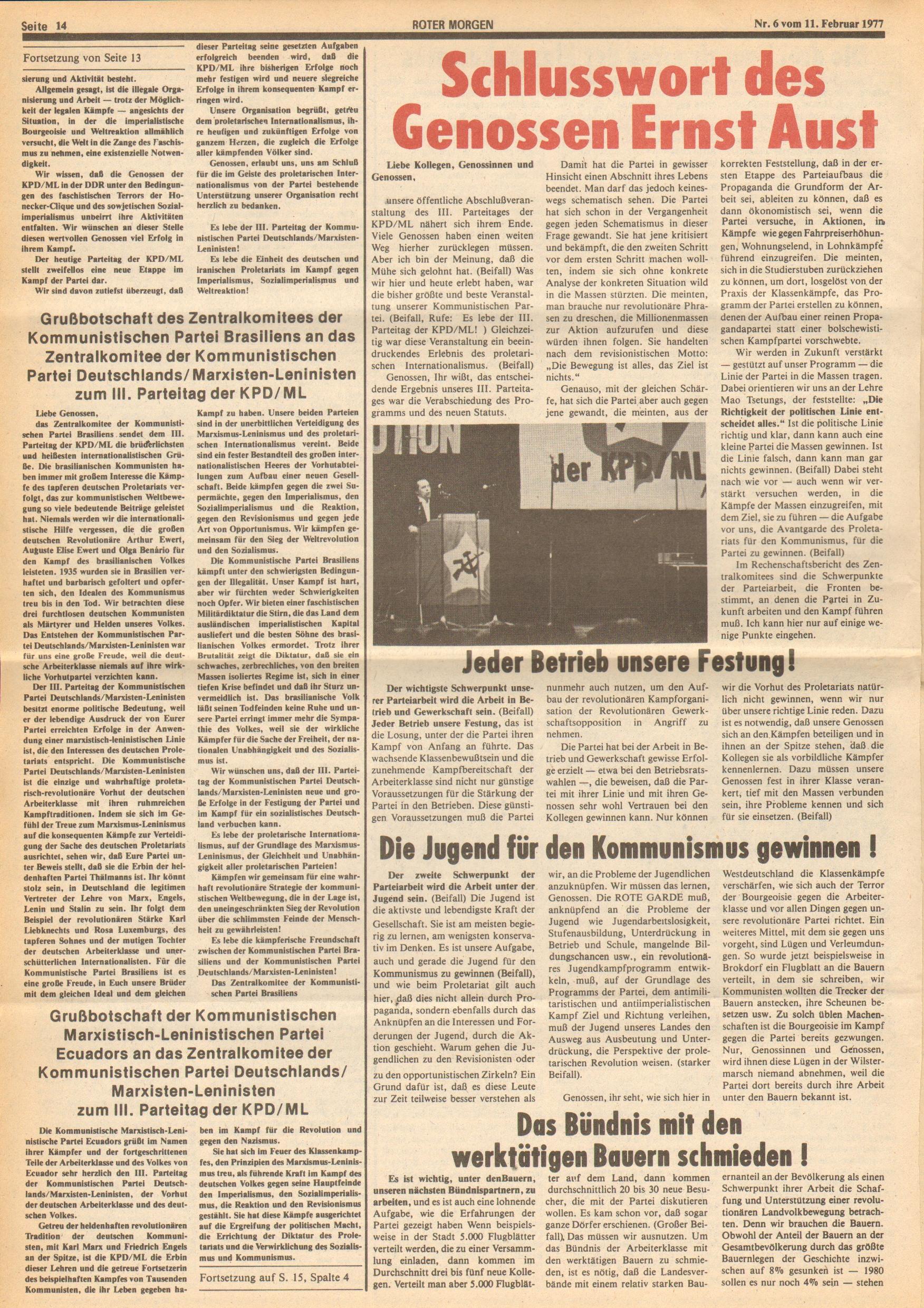 Roter Morgen, 11. Jg., 11. Februar 1977, Nr. 6, Seite 14