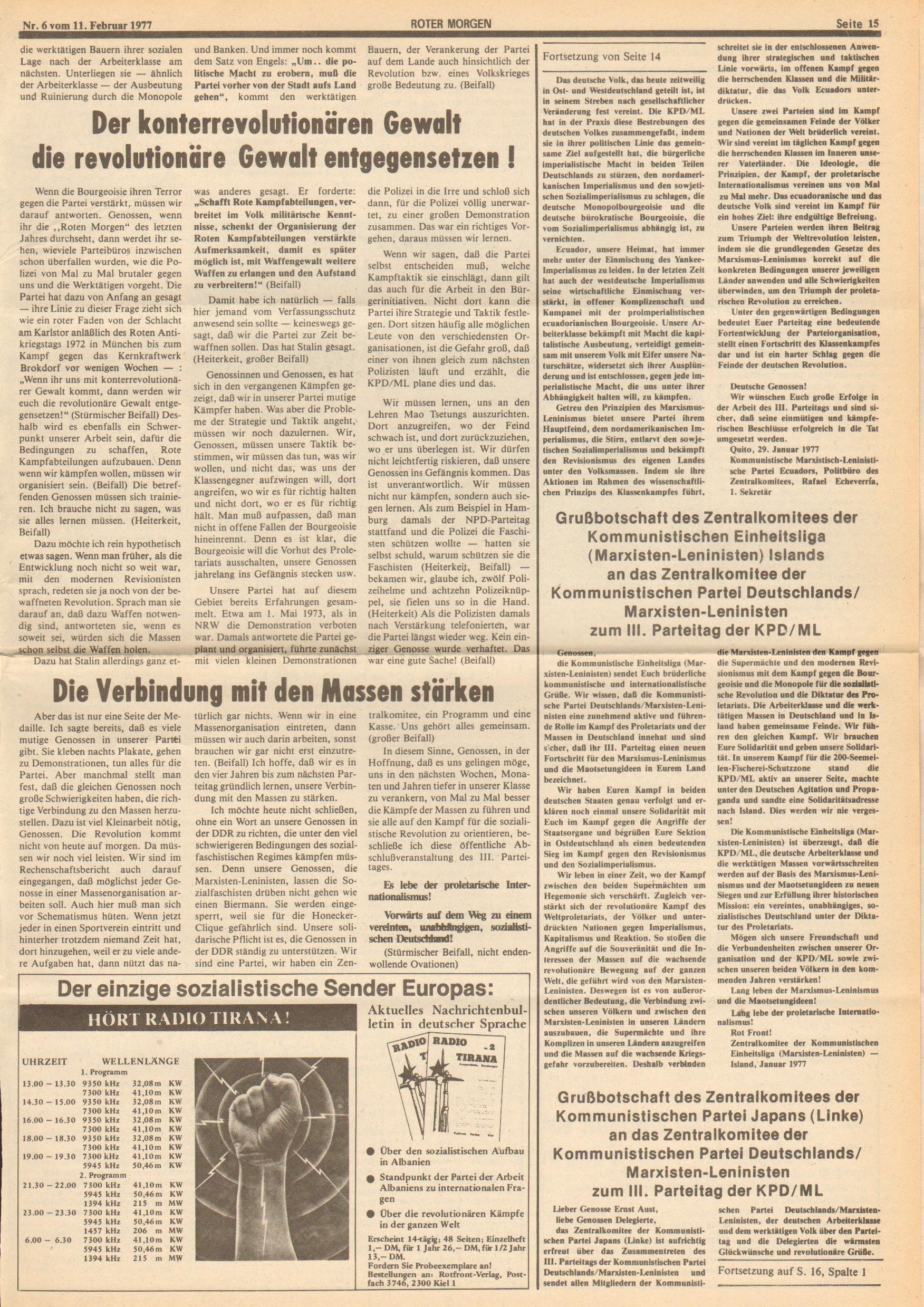 Roter Morgen, 11. Jg., 11. Februar 1977, Nr. 6, Seite 15