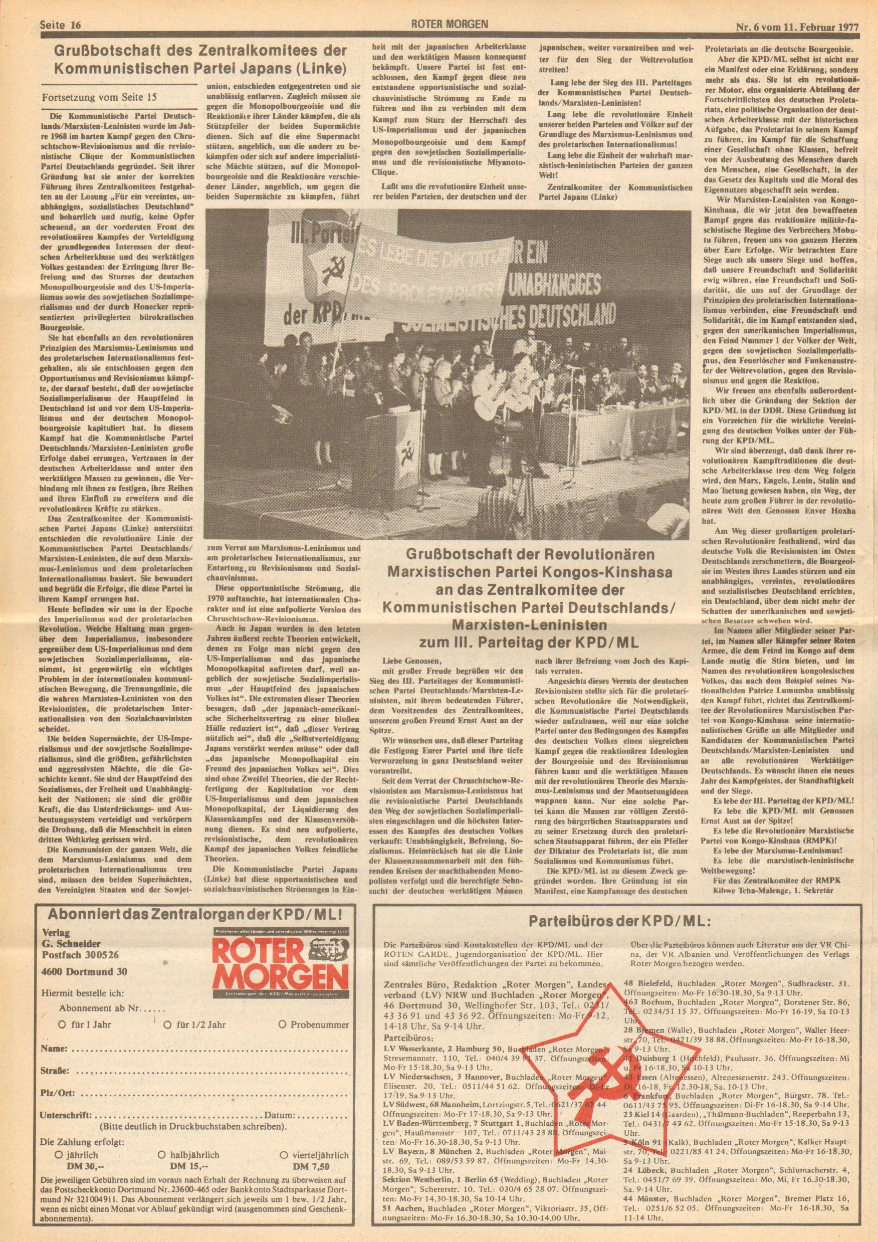Roter Morgen, 11. Jg., 11. Februar 1977, Nr. 6, Seite 16
