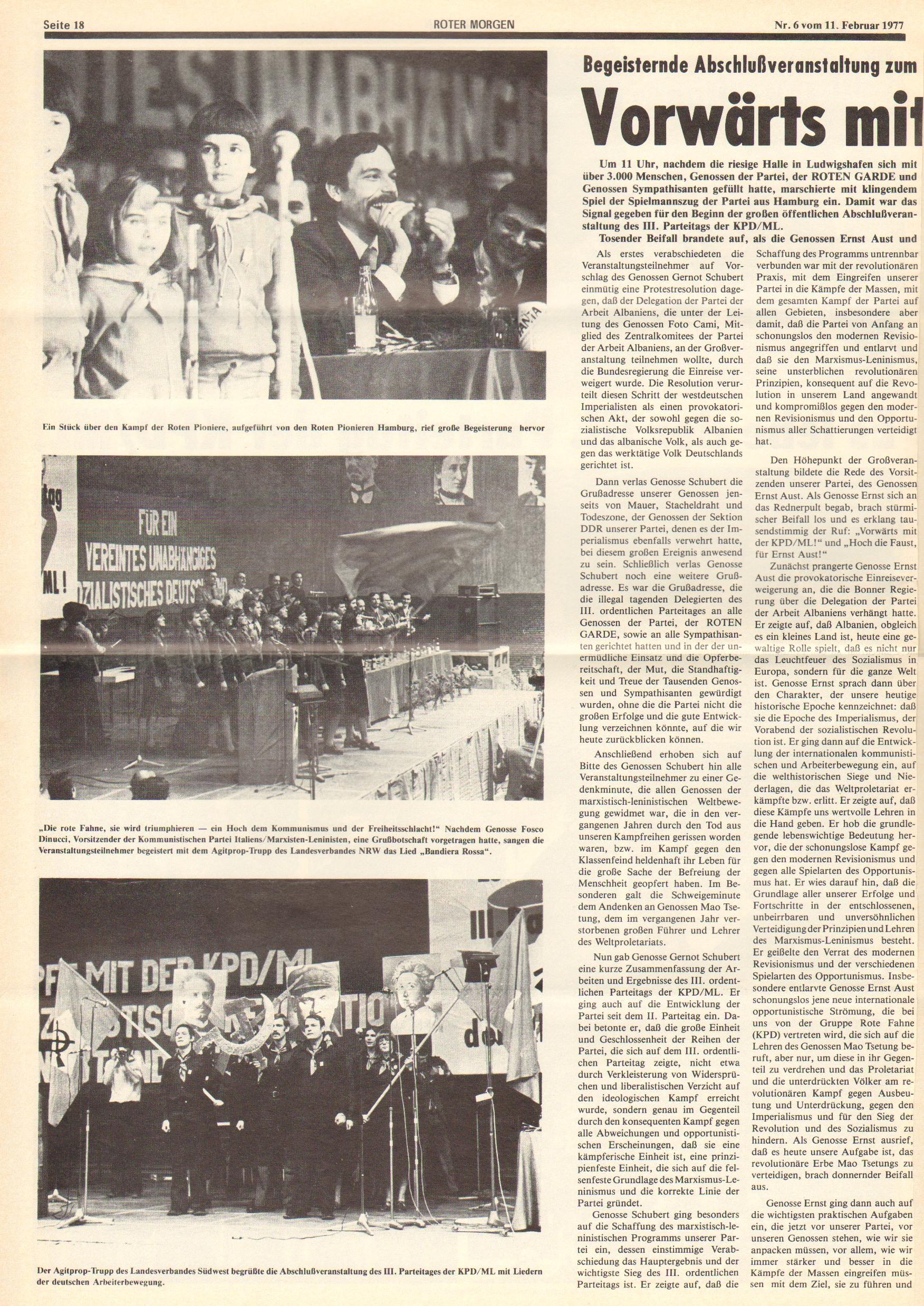 Roter Morgen, 11. Jg., 11. Februar 1977, Nr. 6, Seite 18