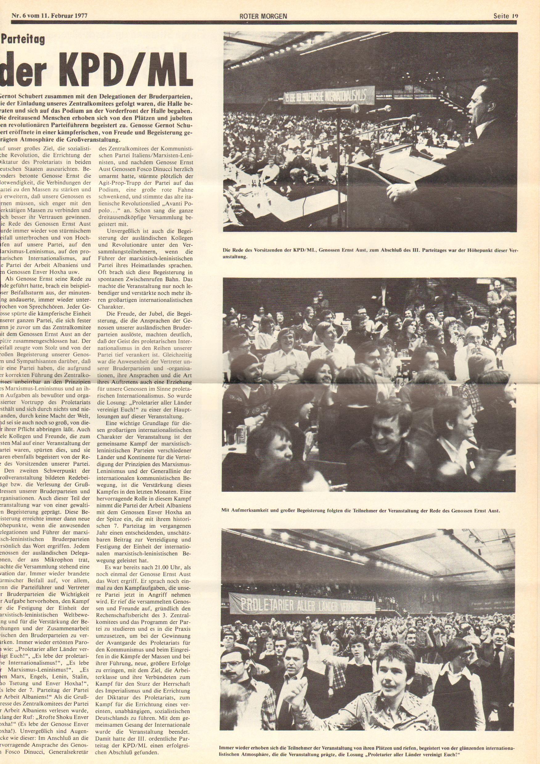 Roter Morgen, 11. Jg., 11. Februar 1977, Nr. 6, Seite 19