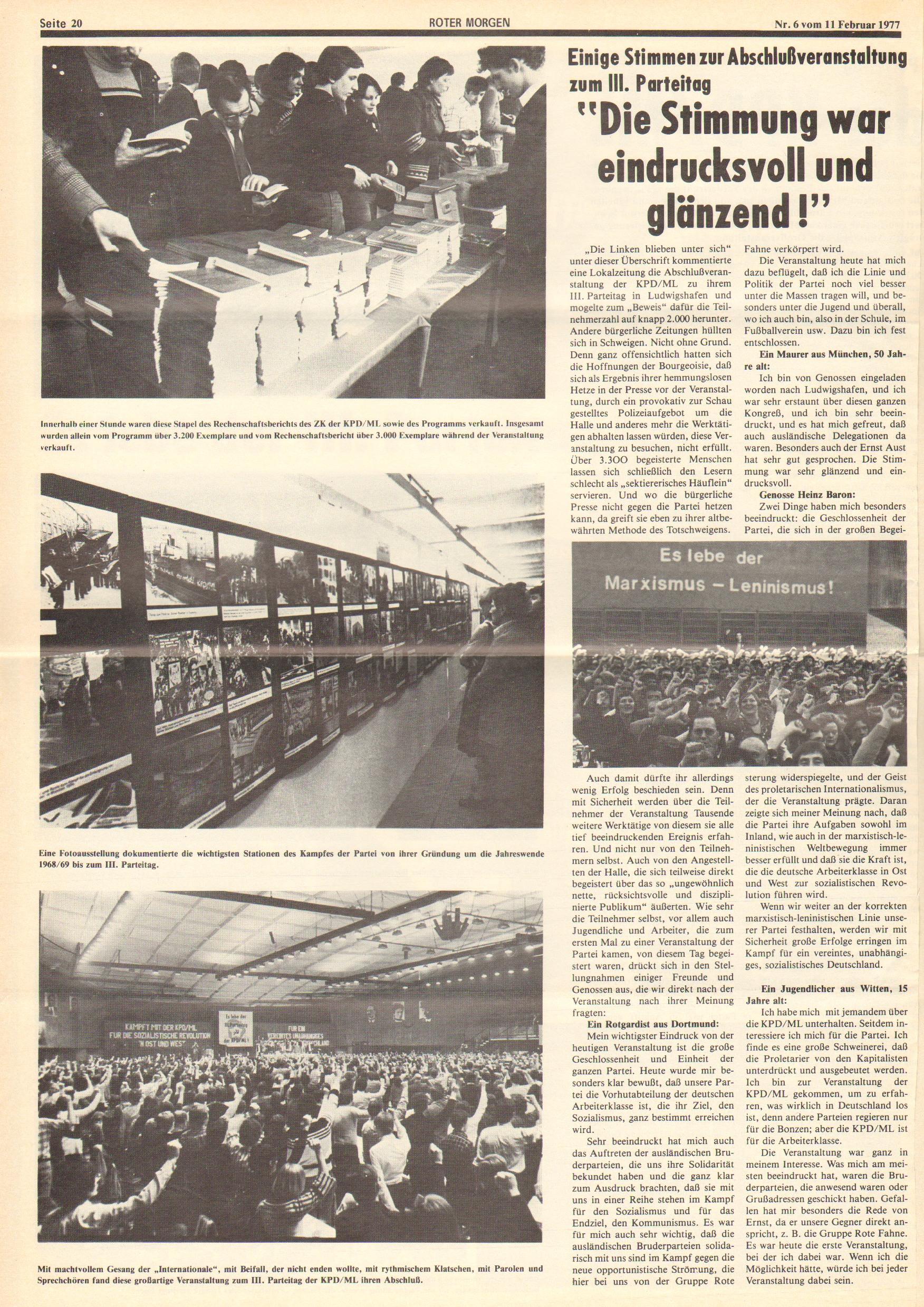 Roter Morgen, 11. Jg., 11. Februar 1977, Nr. 6, Seite 20