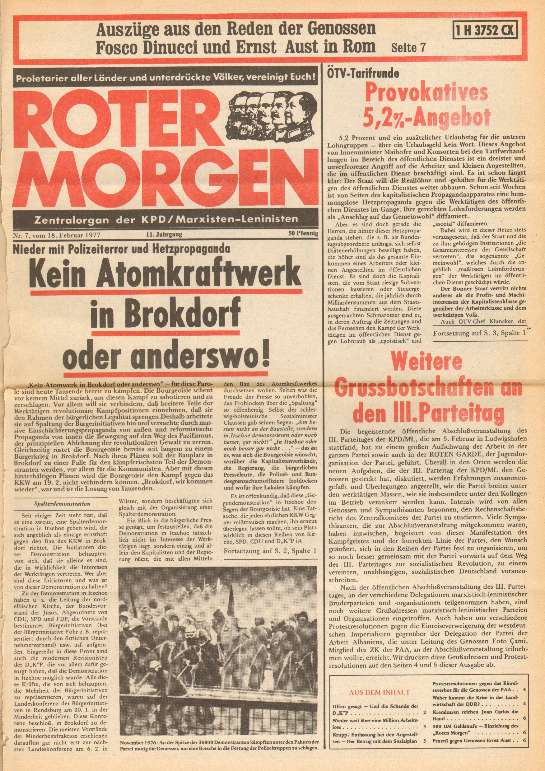 Roter Morgen, 11. Jg., 18. Februar 1977, Nr. 7, Seite 1