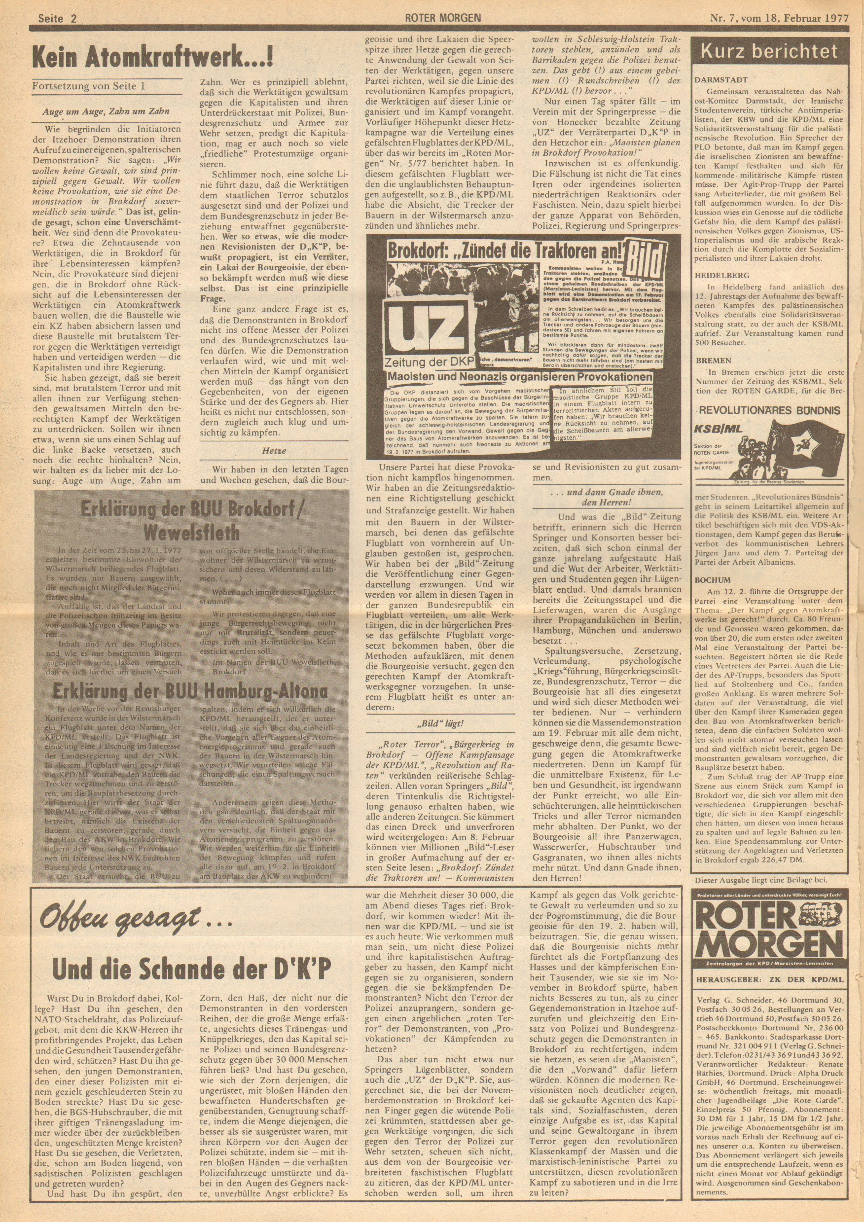 Roter Morgen, 11. Jg., 18. Februar 1977, Nr. 7, Seite 2
