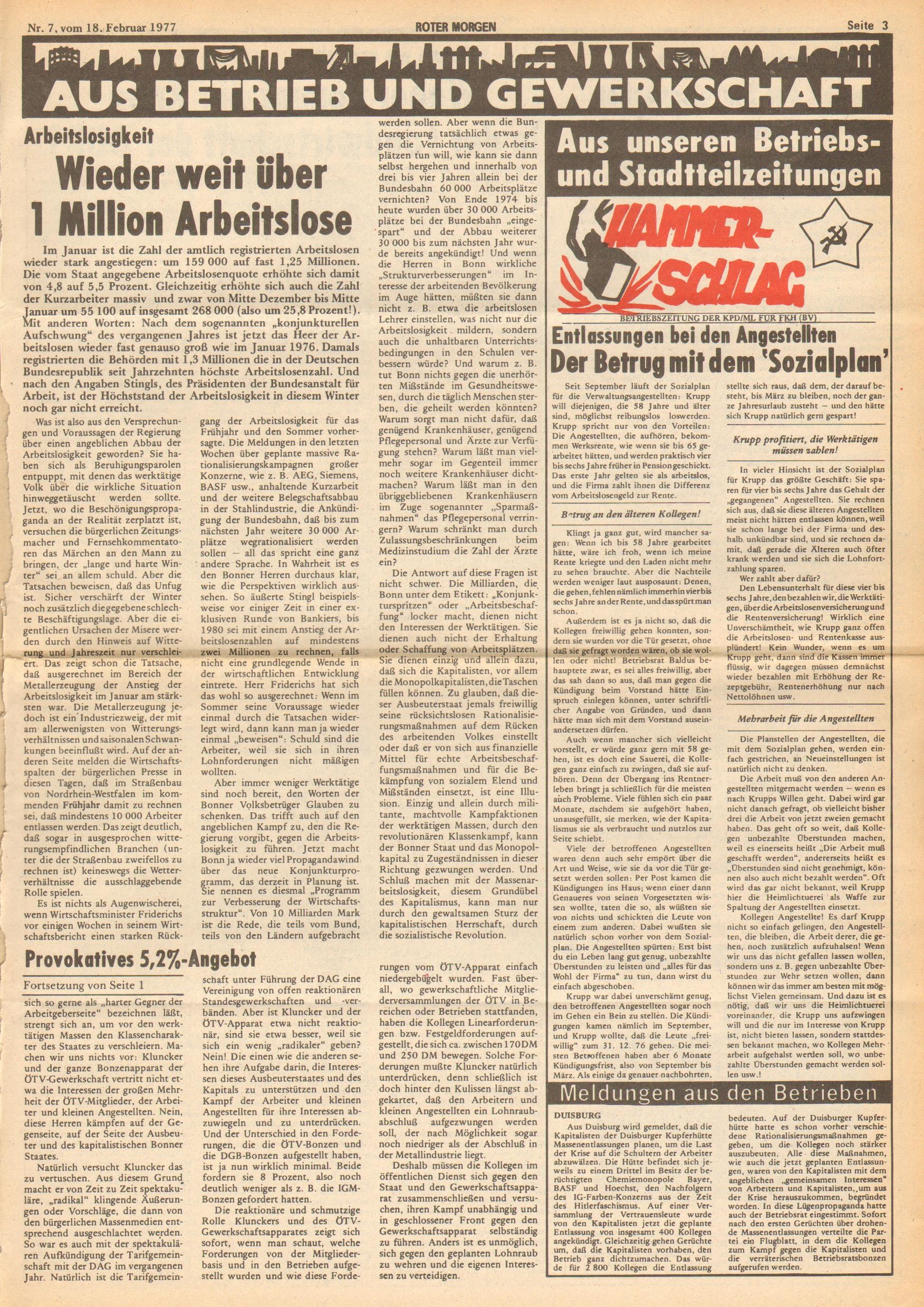 Roter Morgen, 11. Jg., 18. Februar 1977, Nr. 7, Seite 3